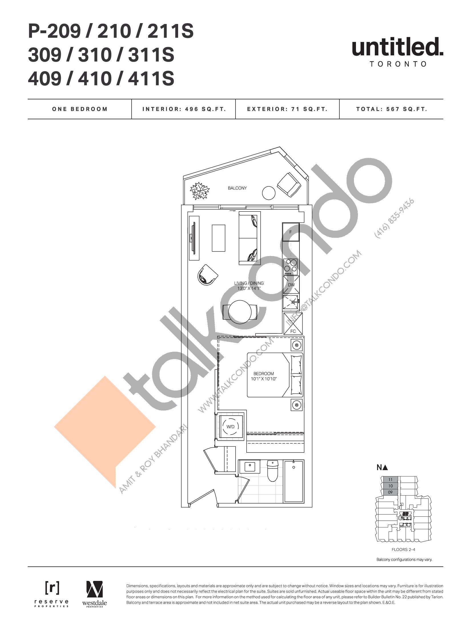 P-209 / 210 / 211S / 309 / 310 / 311S / 409 / 410 / 411S Floor Plan at Untitled Toronto Condos - 496 sq.ft