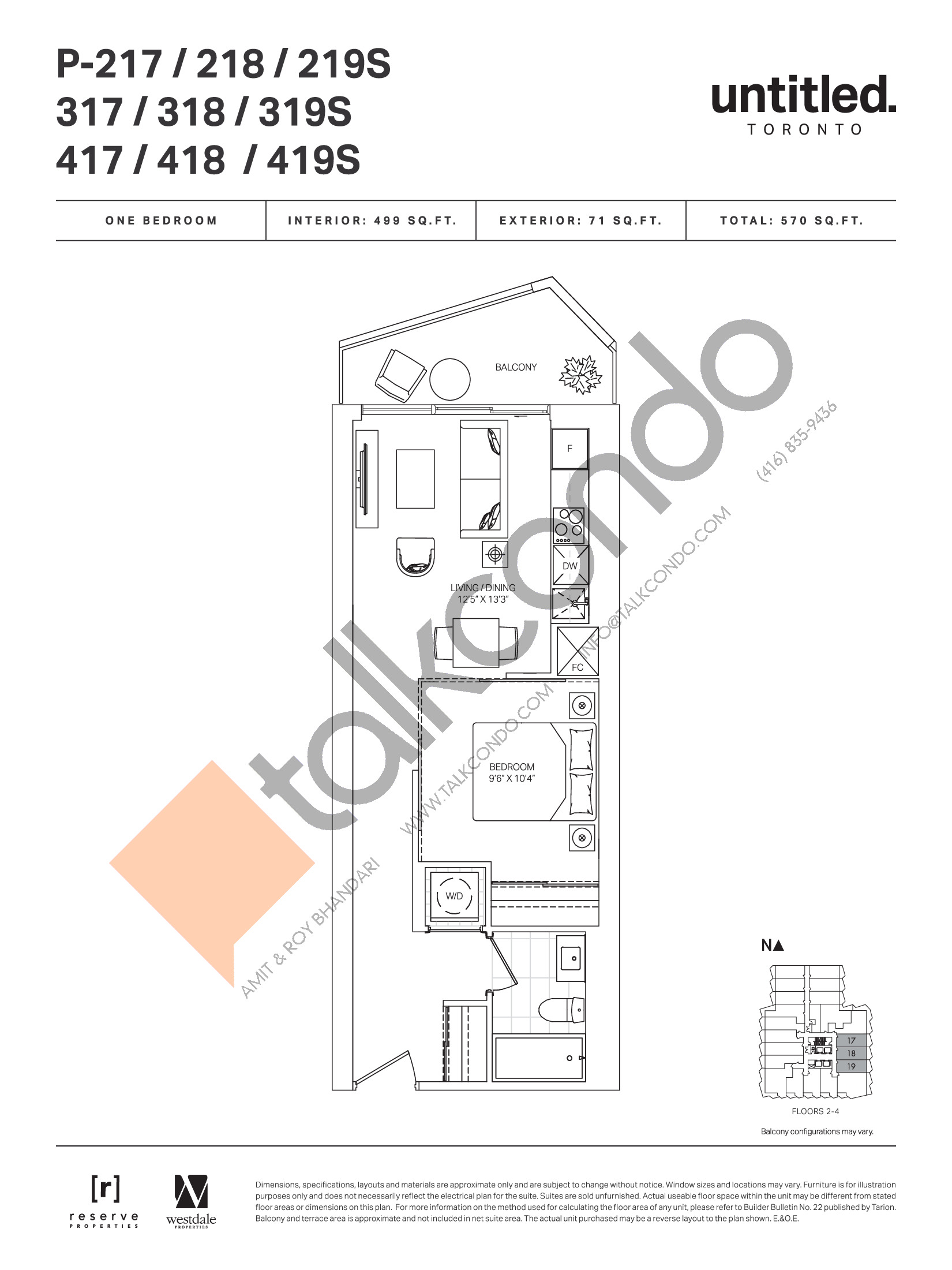 P-217 / 218 / 219S / 317 / 318 / 319S / 417 / 418 / 419S Floor Plan at Untitled Toronto Condos - 499 sq.ft