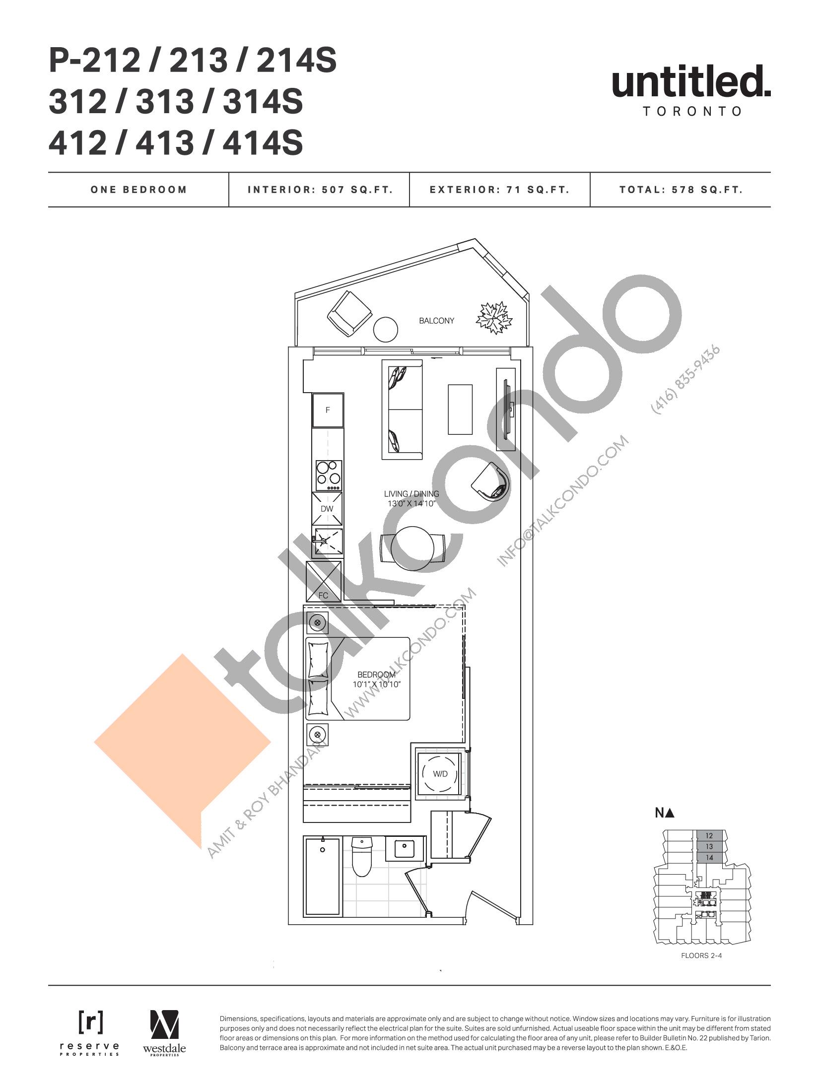 P-212 / 213 / 214S / 312 / 313 /314S / 412 / 413 / 414S Floor Plan at Untitled Toronto Condos - 507 sq.ft
