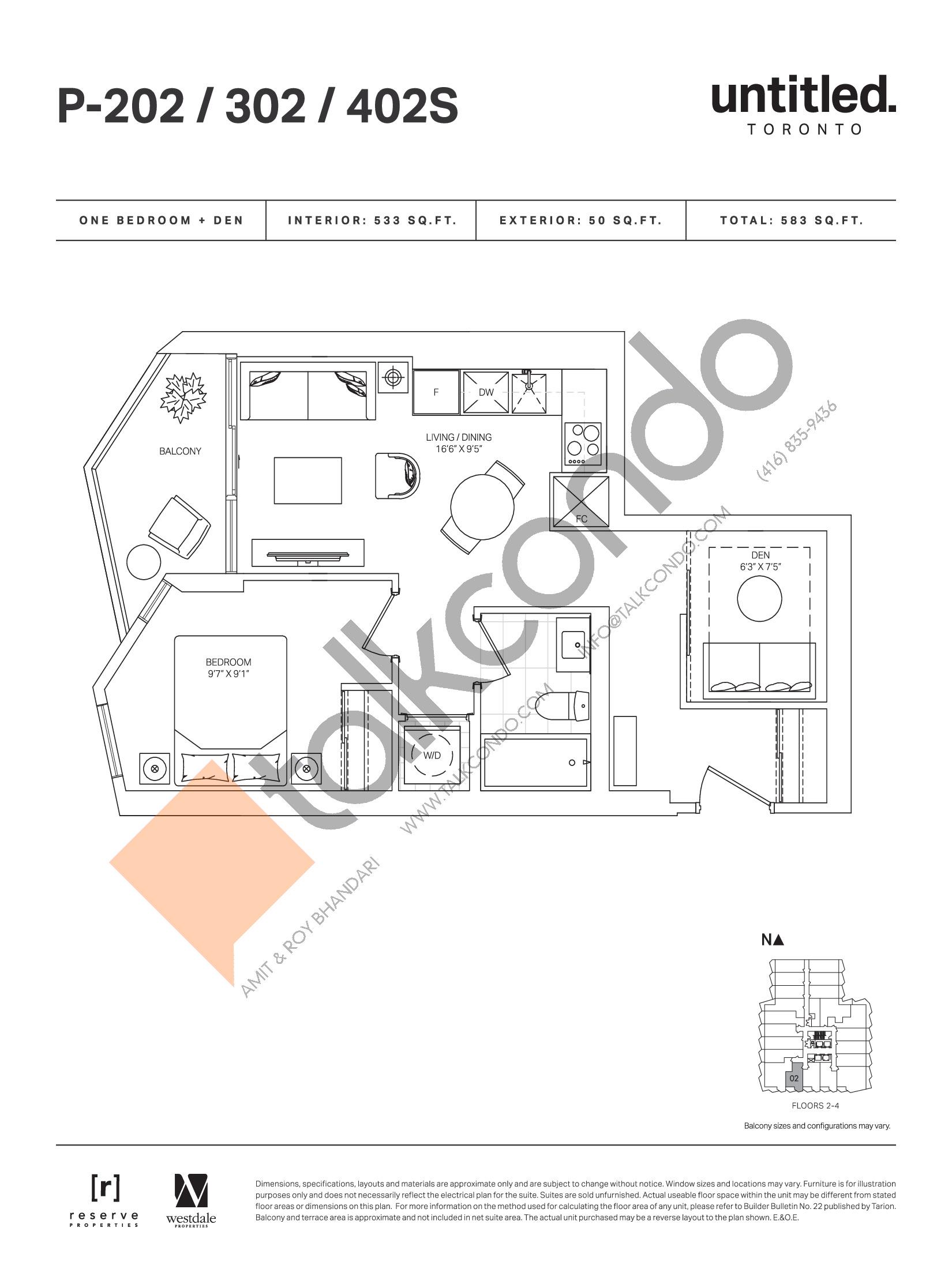 P-202 / 302 / 402S Floor Plan at Untitled Toronto Condos - 533 sq.ft