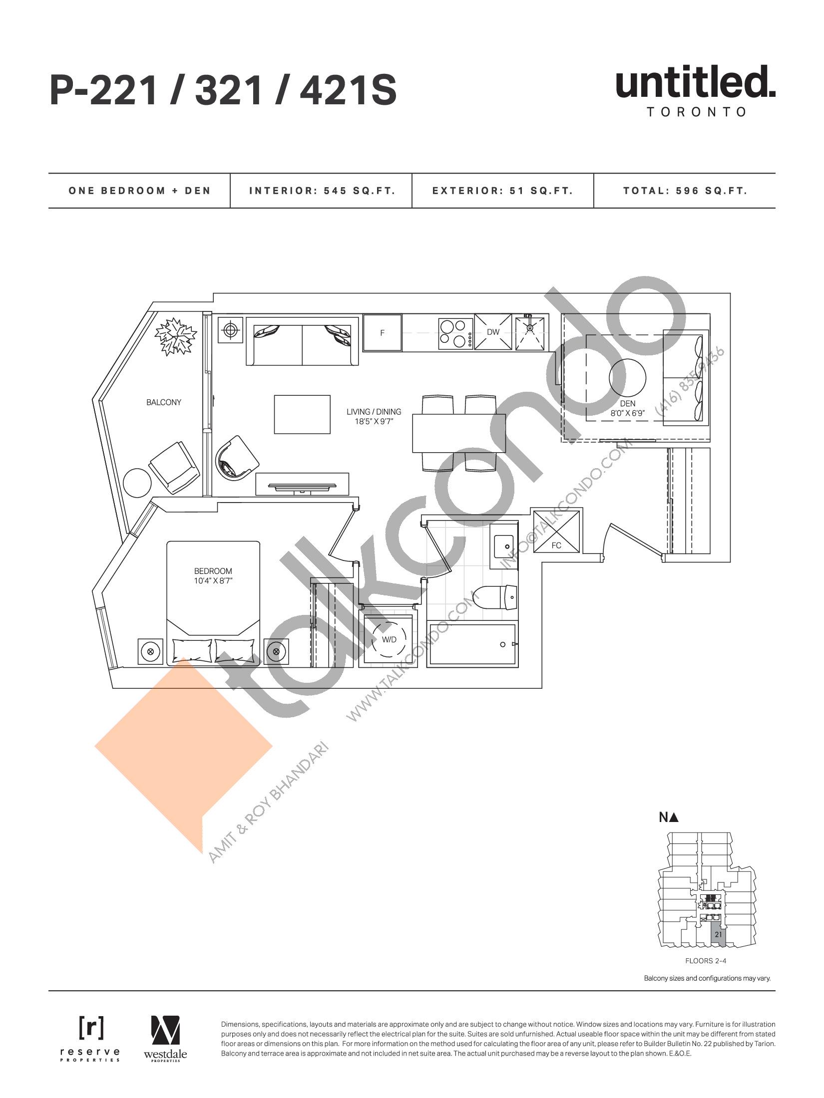 P-221 / 321 / 421S Floor Plan at Untitled Toronto Condos - 545 sq.ft