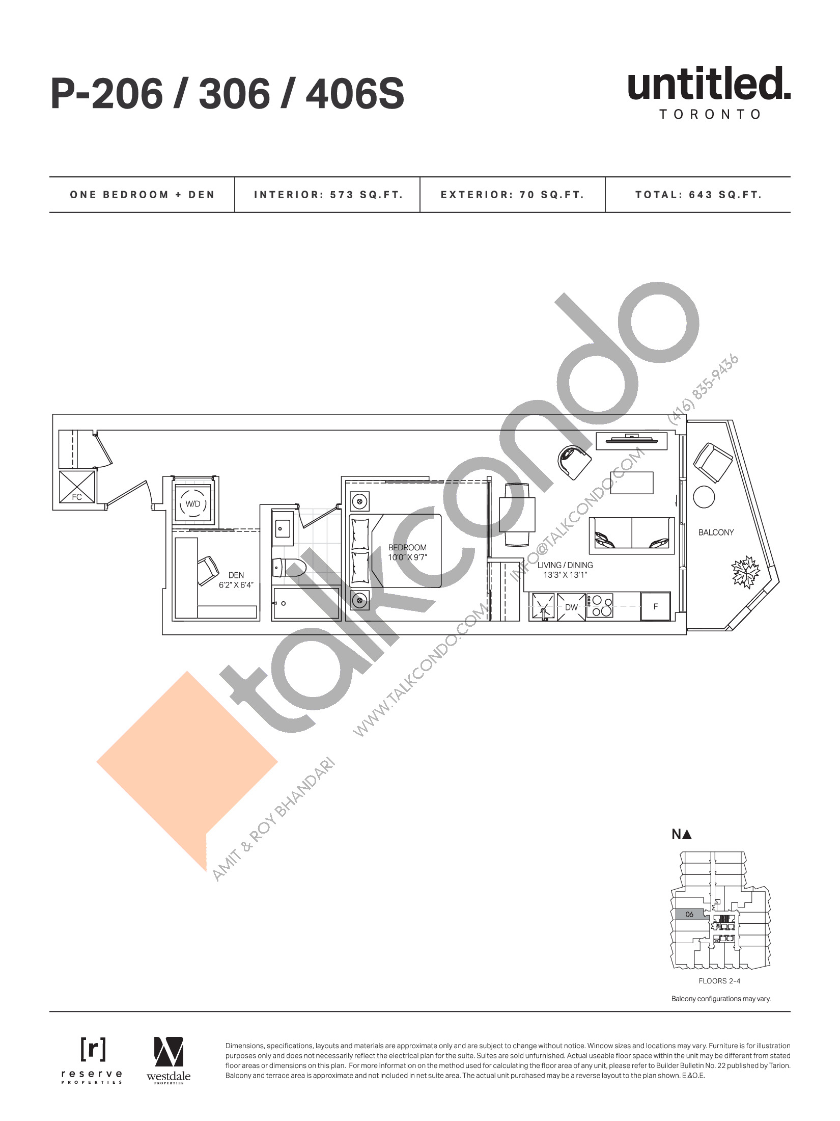 P-206 / 306 / 406S Floor Plan at Untitled Toronto Condos - 573 sq.ft