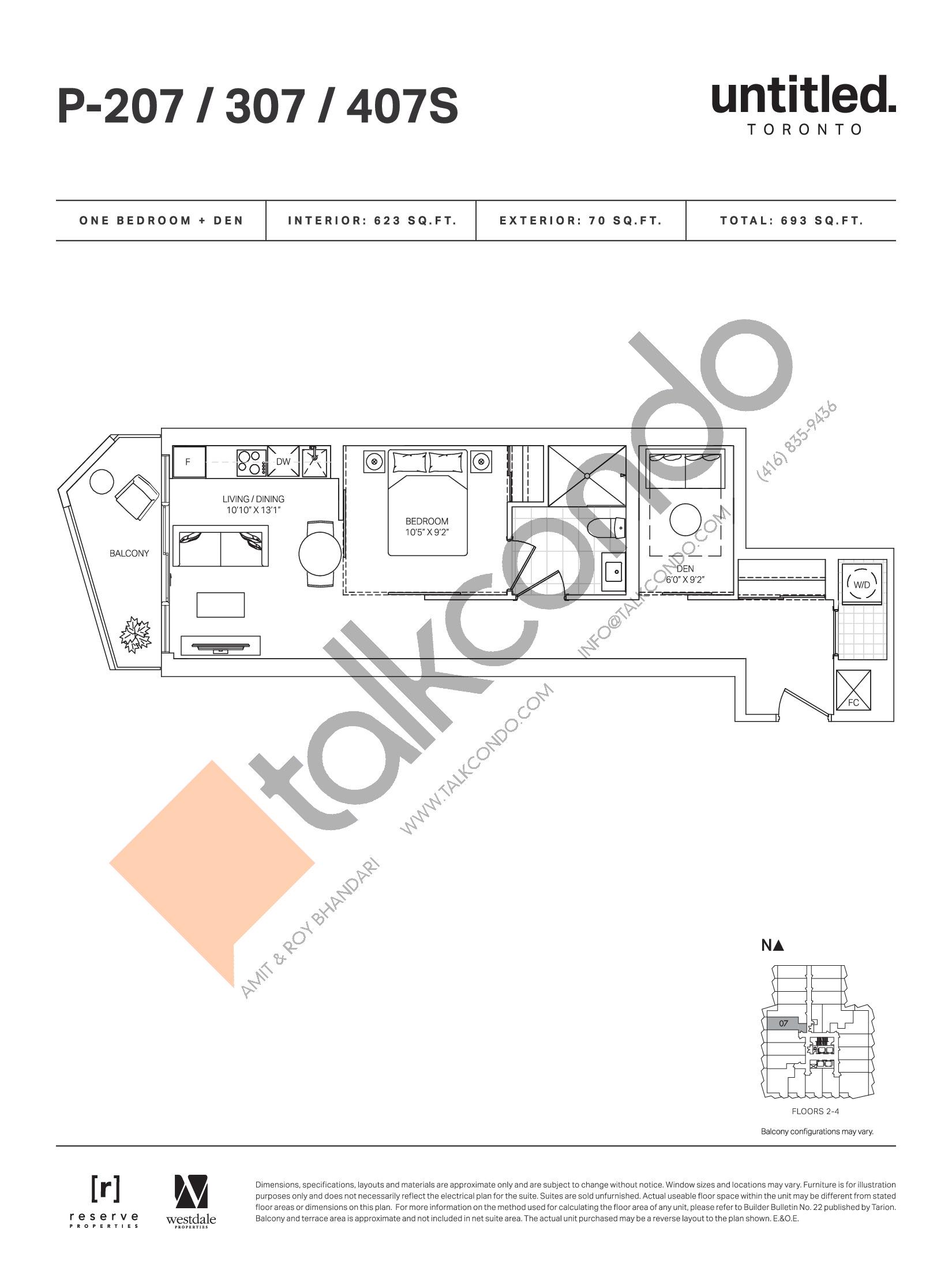 P-207 / 307 / 407S Floor Plan at Untitled Toronto Condos - 623 sq.ft