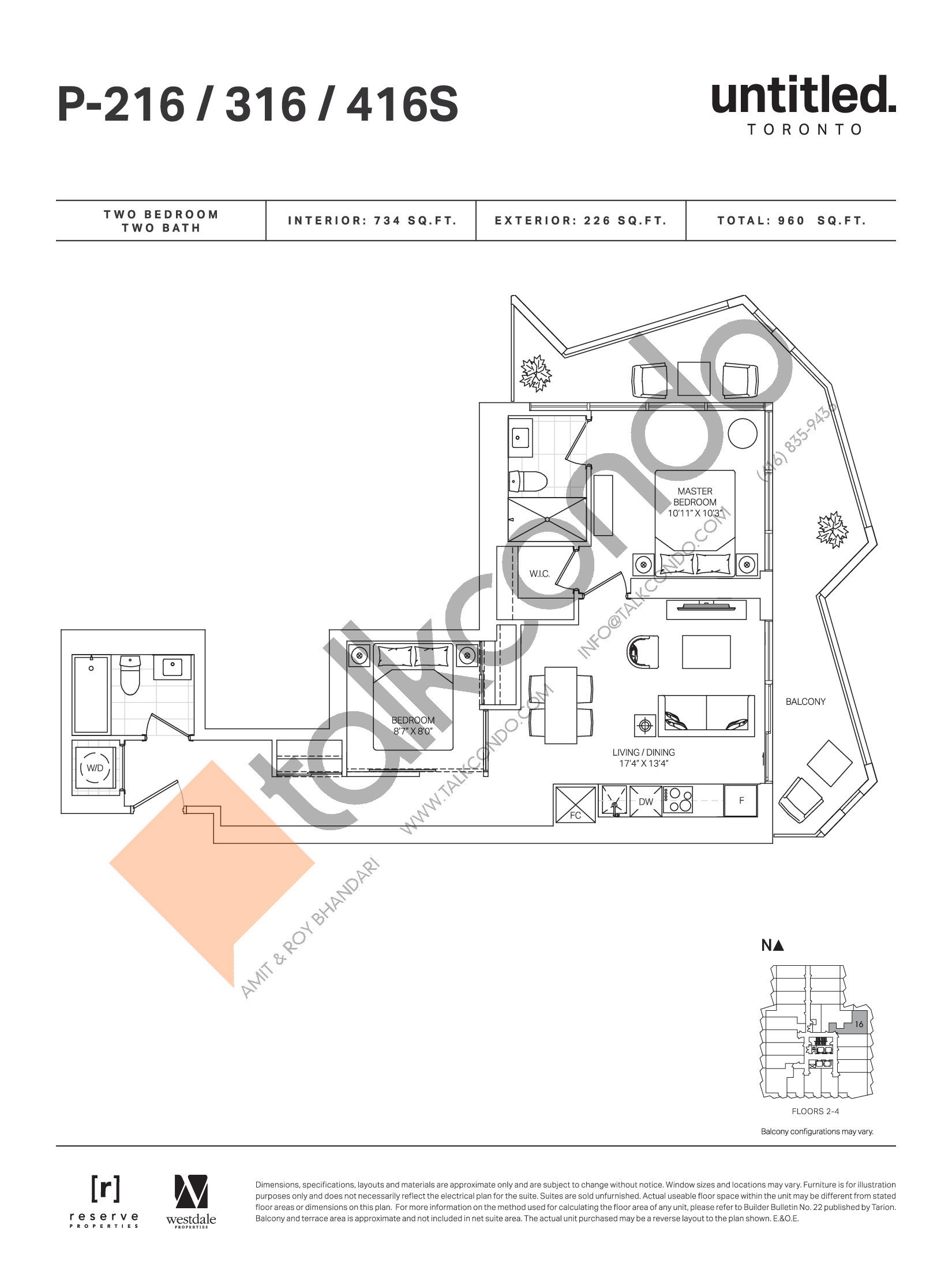 P-216 / 316 / 416S Floor Plan at Untitled Toronto Condos - 734 sq.ft