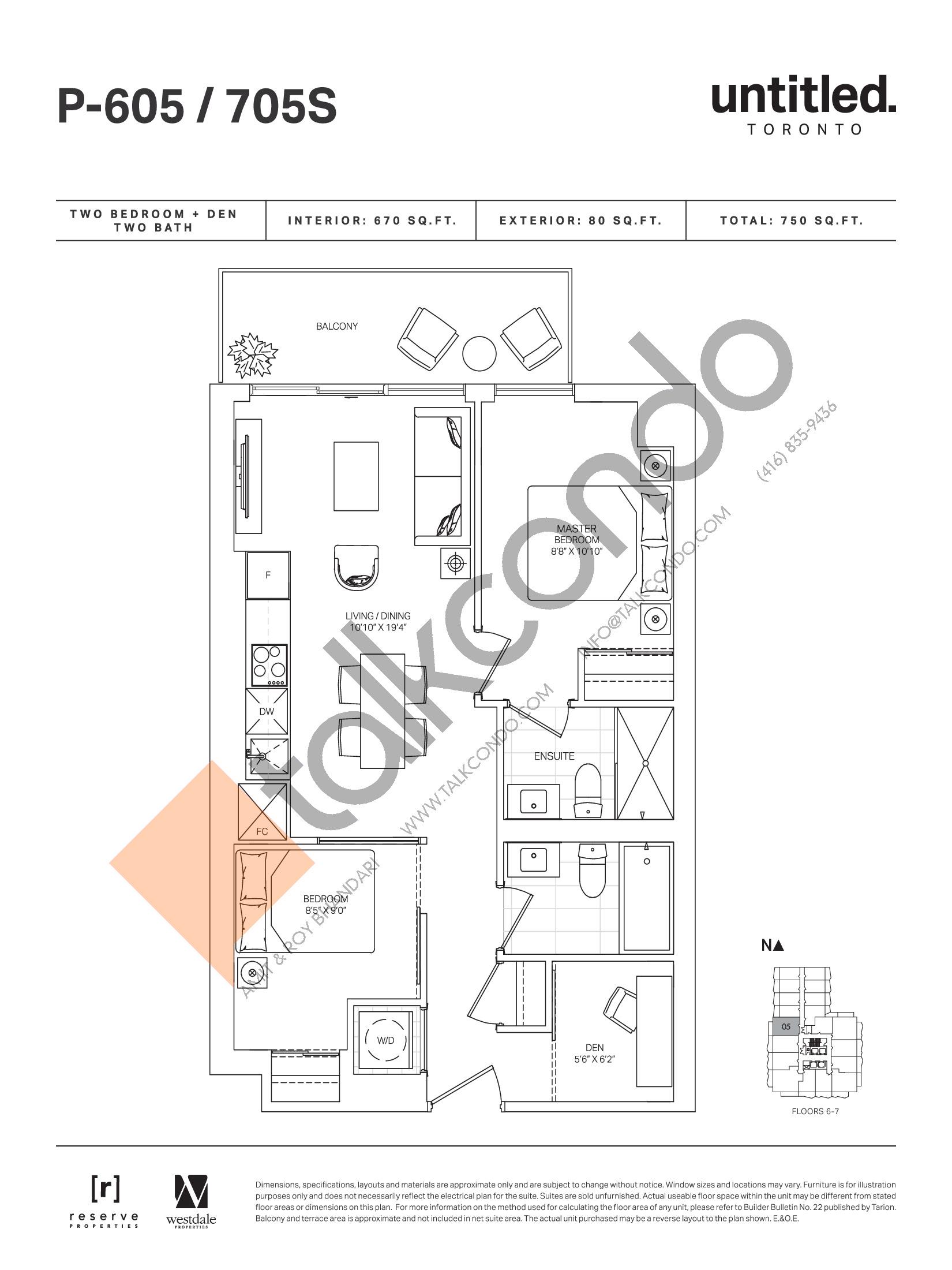 P-605 / 705S Floor Plan at Untitled Toronto Condos - 670 sq.ft