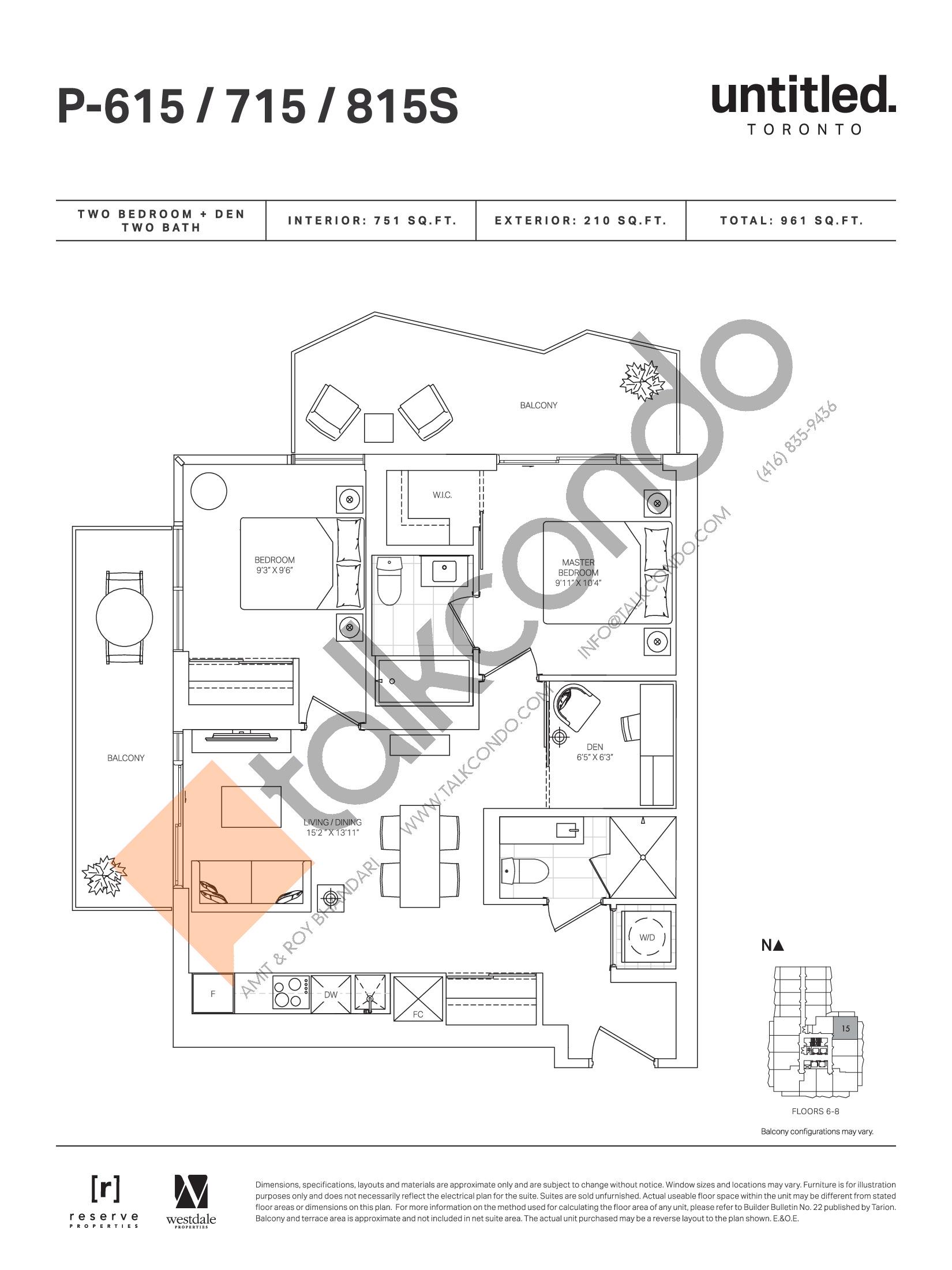 P-615 / 715 / 815S Floor Plan at Untitled Toronto Condos - 751 sq.ft