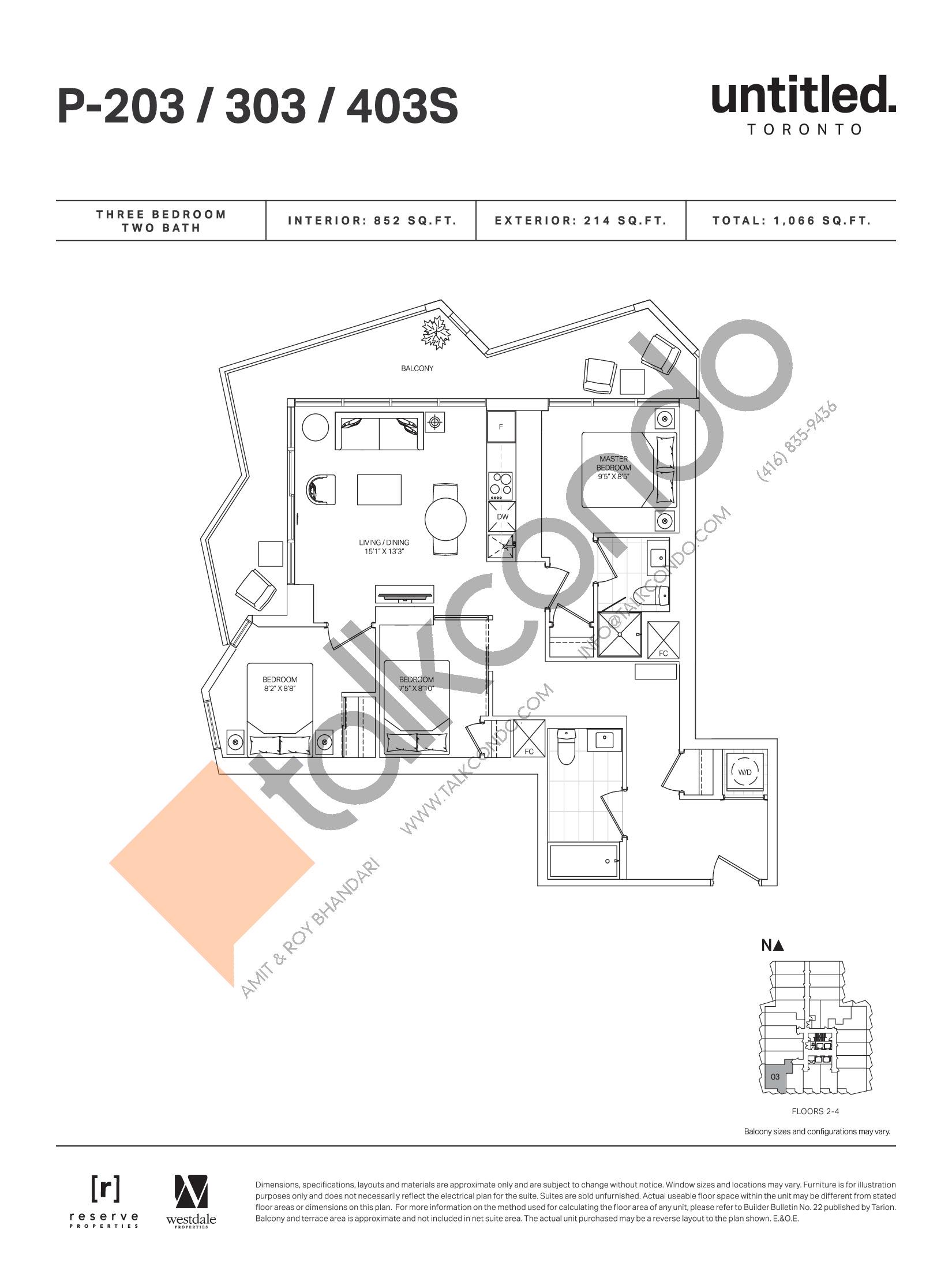 P-203 / 303 / 403S Floor Plan at Untitled Toronto Condos - 852 sq.ft