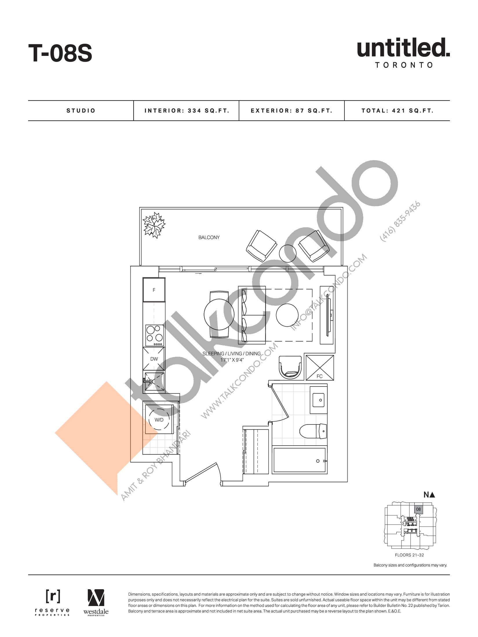 T-08S (Floor 21-32) Floor Plan at Untitled Toronto Condos - 334 sq.ft