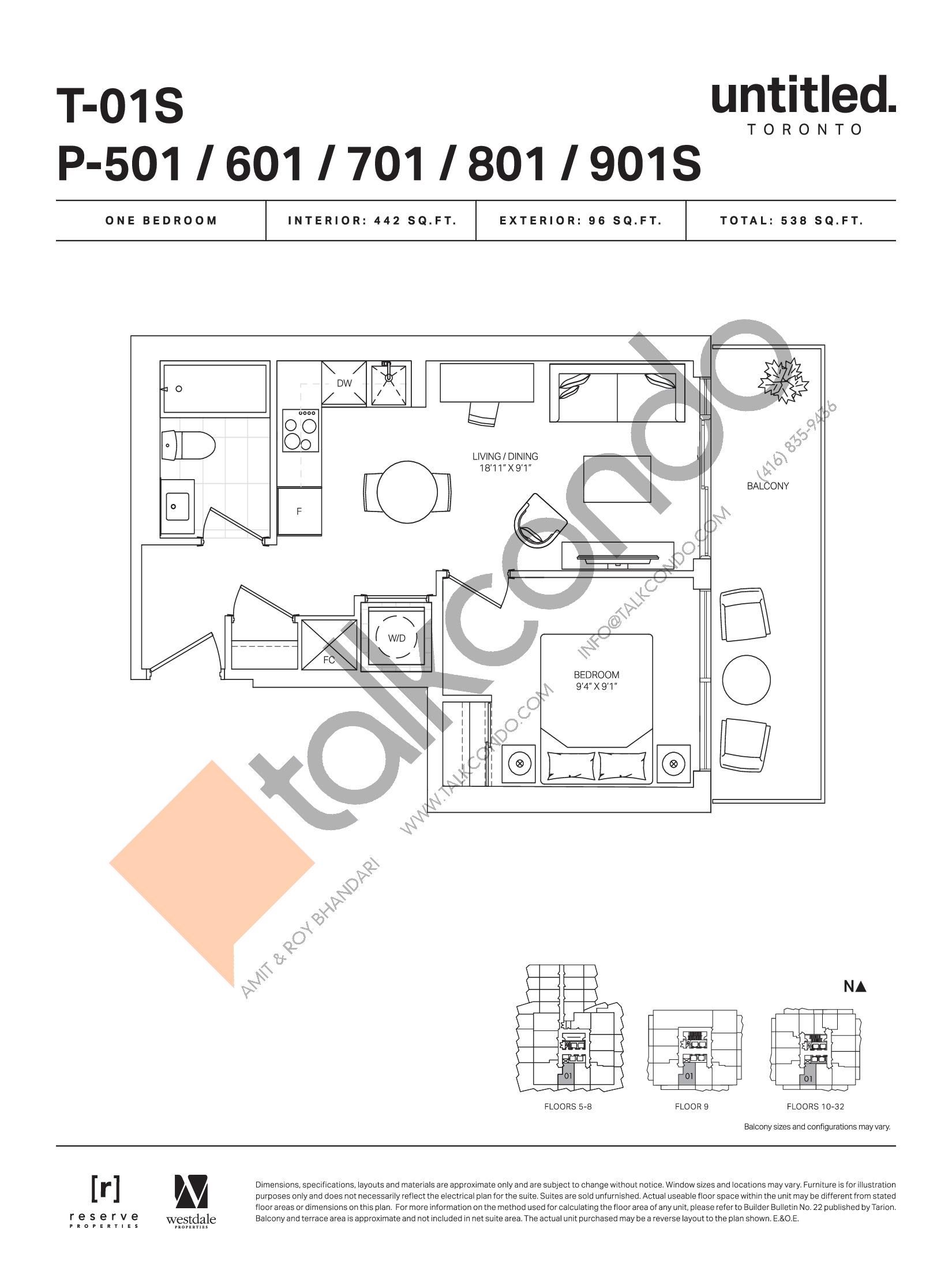T-01S / P-501 / 601/ 701 / 801 / 901S  Floor Plan at Untitled Toronto Condos - 442 sq.ft