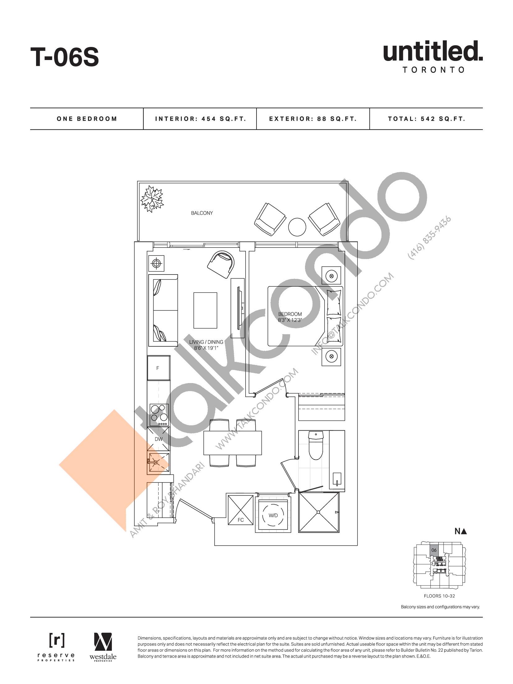 T-06S Floor Plan at Untitled Toronto Condos - 454 sq.ft
