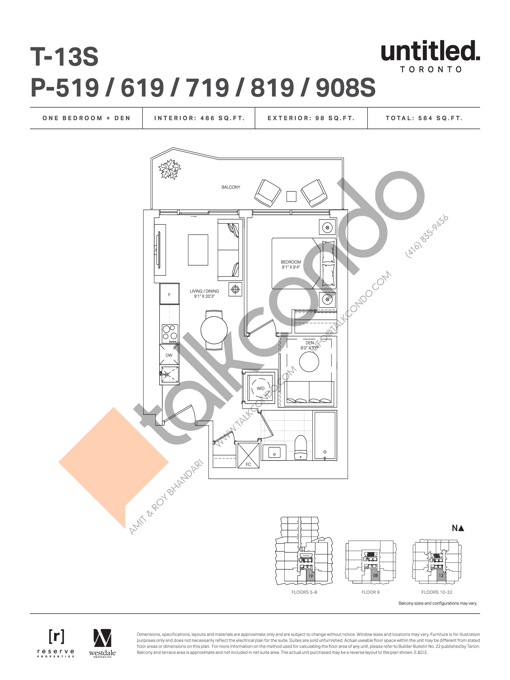 T-13S Floor Plan at Untitled Toronto Condos - 486 sq.ft