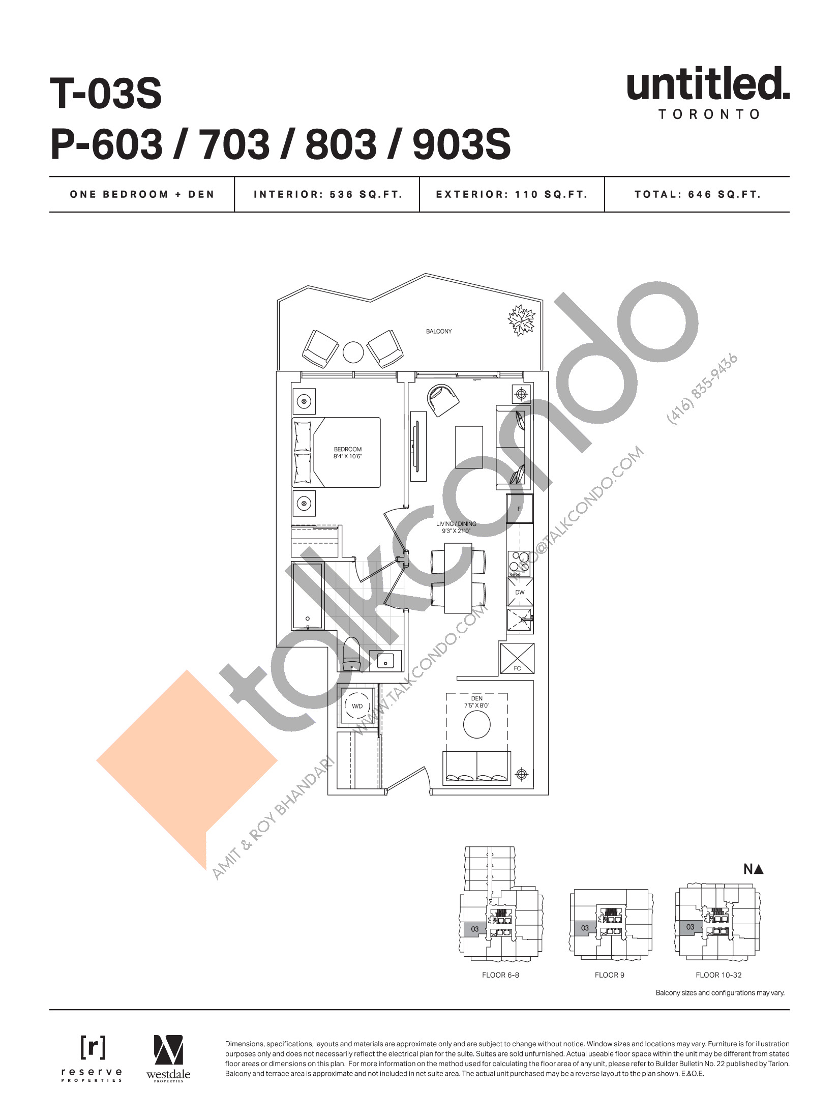 T-03S / P-603 / 703 / 803 / 903S Floor Plan at Untitled Toronto Condos - 536 sq.ft