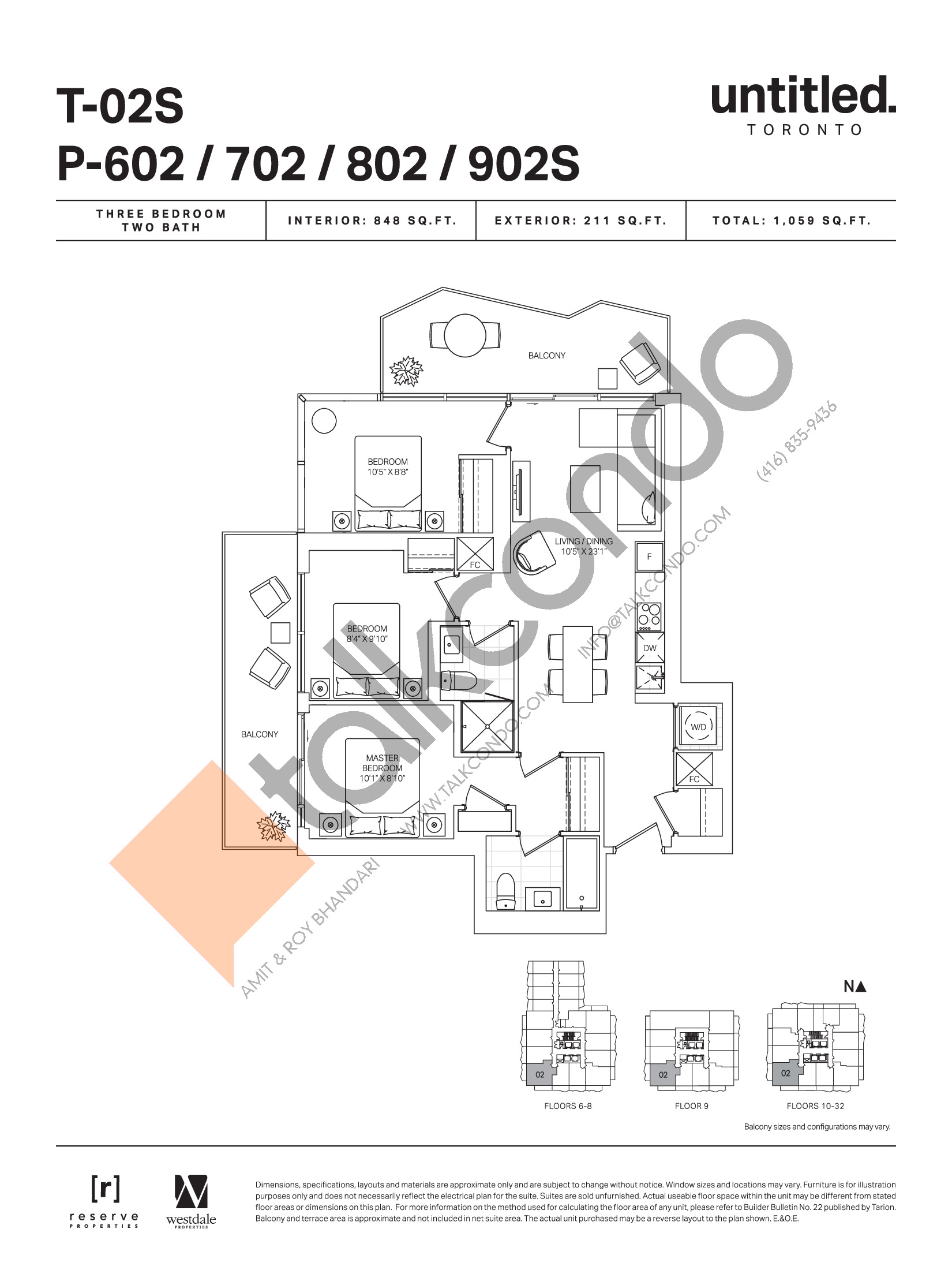 T-02S / P-602 / 702 / 802 / 902S Floor Plan at Untitled Toronto Condos - 848 sq.ft