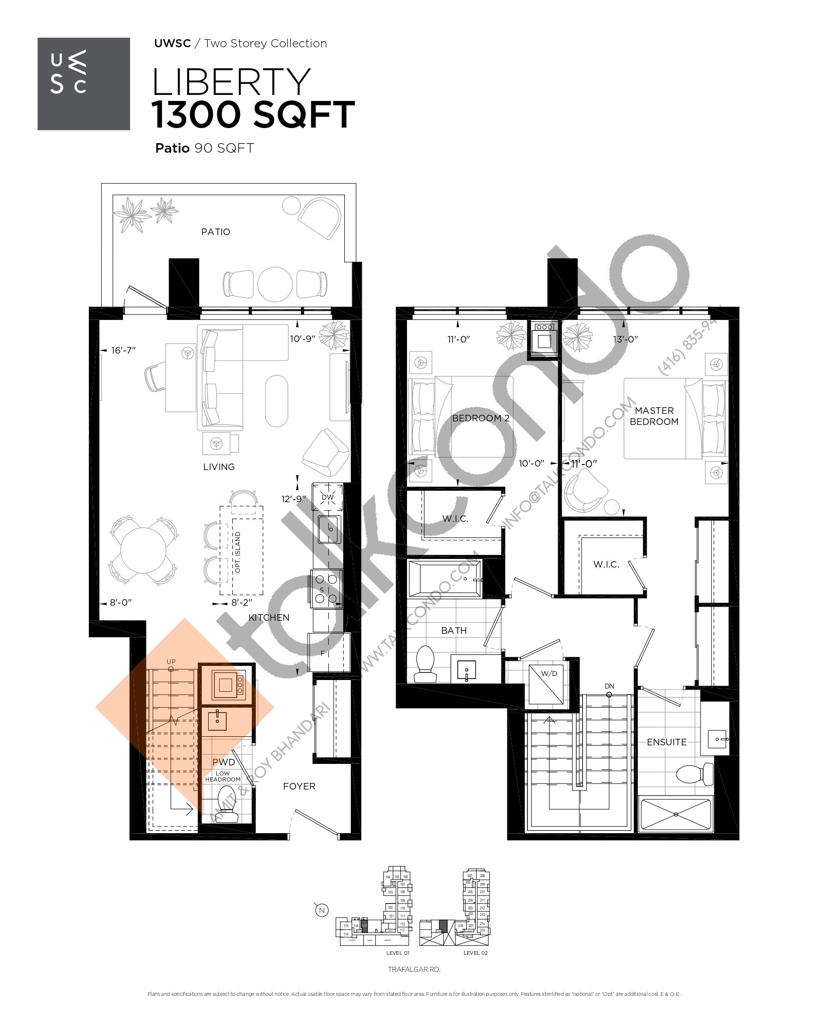 Liberty Floor Plan at Upper West Side Condos at Oakvillage - 1300 sq.ft