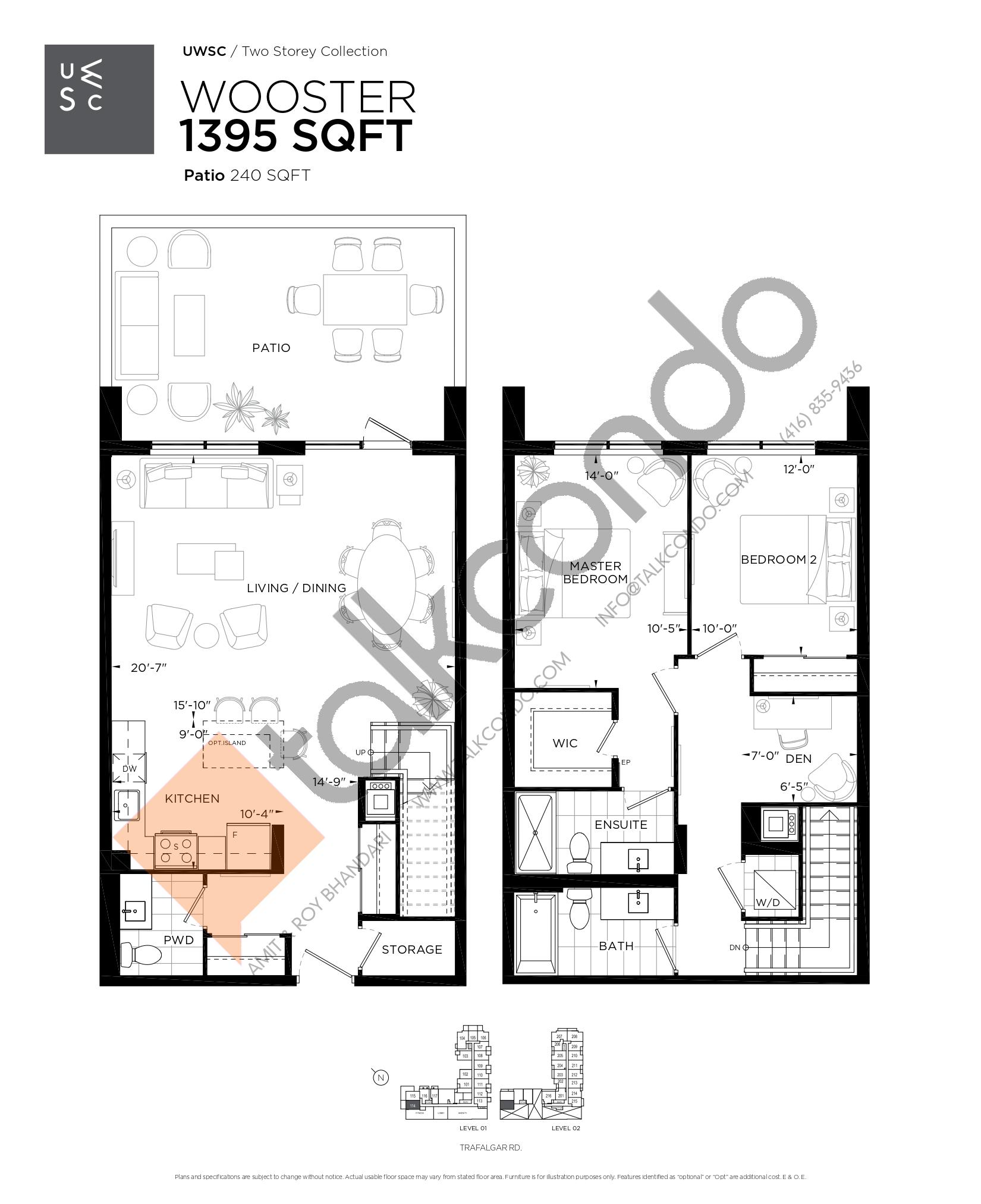 Wooster Floor Plan at Upper West Side Condos at Oakvillage - 1395 sq.ft
