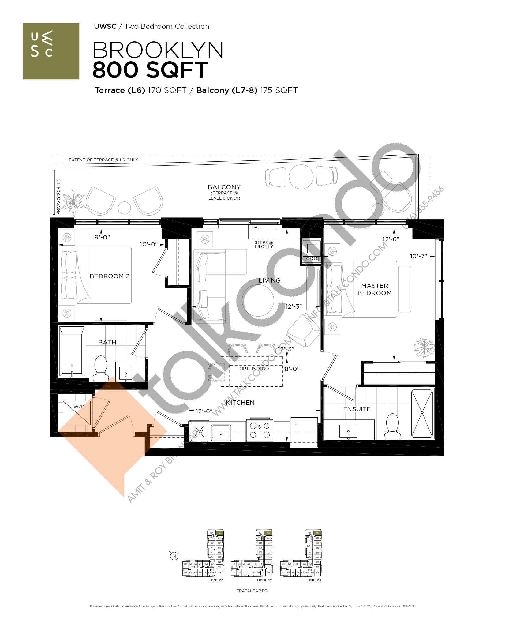 Brooklyn Floor Plan at Upper West Side Condos at Oakvillage - 800 sq.ft