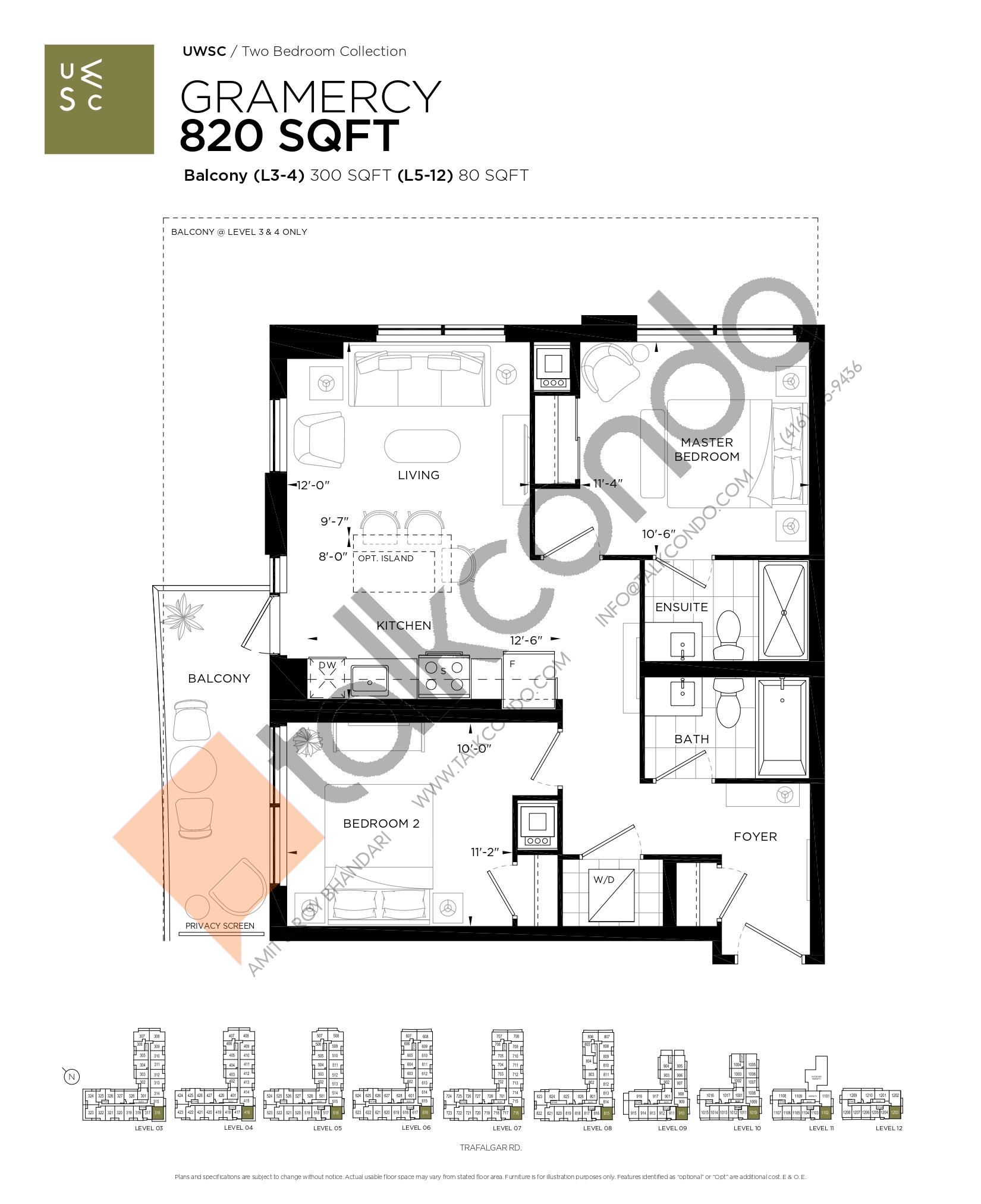 Gramercy Floor Plan at Upper West Side Condos at Oakvillage - 820 sq.ft