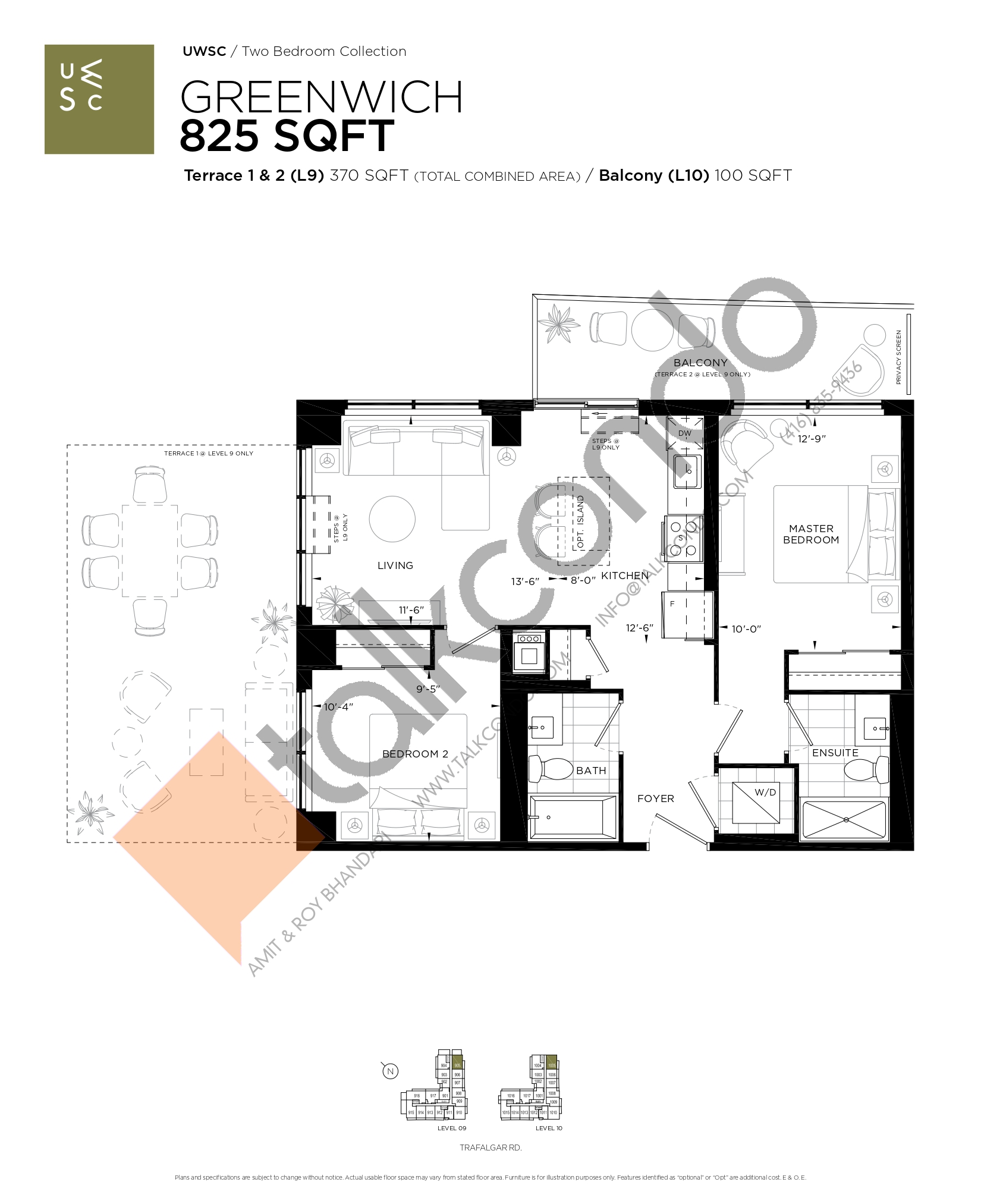 Greenwich Floor Plan at Upper West Side Condos at Oakvillage - 825 sq.ft