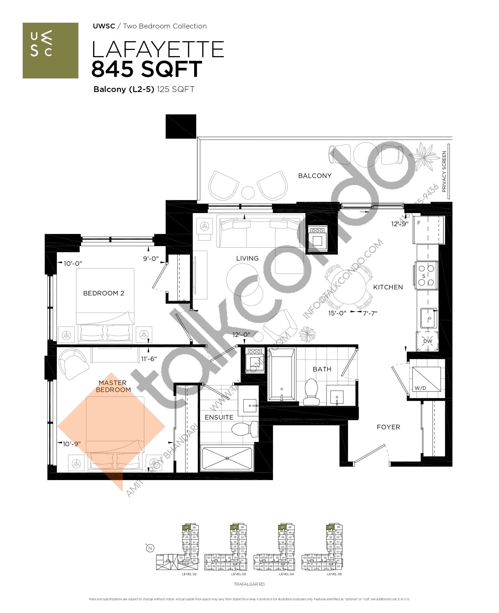 Lafayette Floor Plan at Upper West Side Condos at Oakvillage - 845 sq.ft