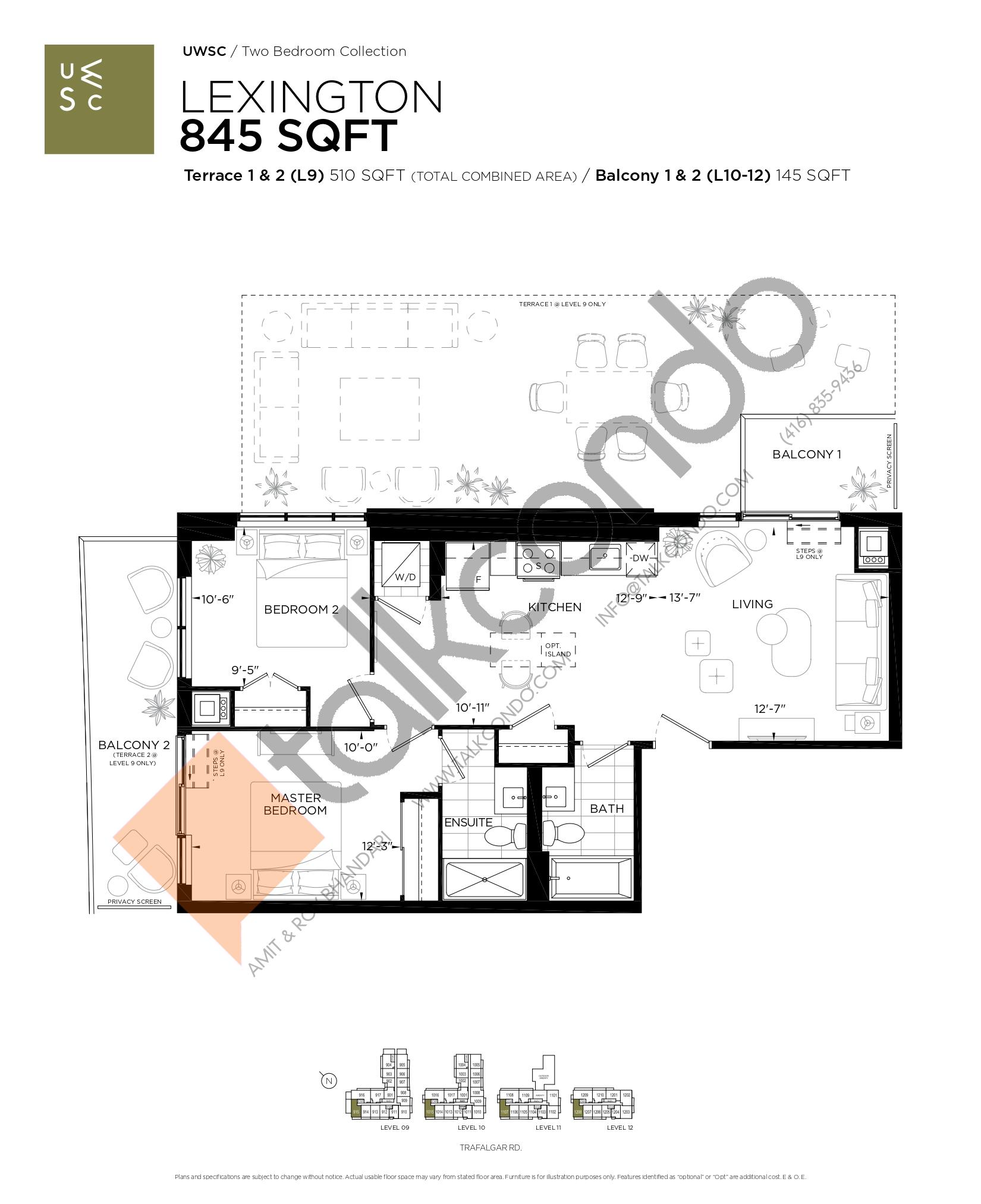 Lexington Floor Plan at Upper West Side Condos at Oakvillage - 845 sq.ft