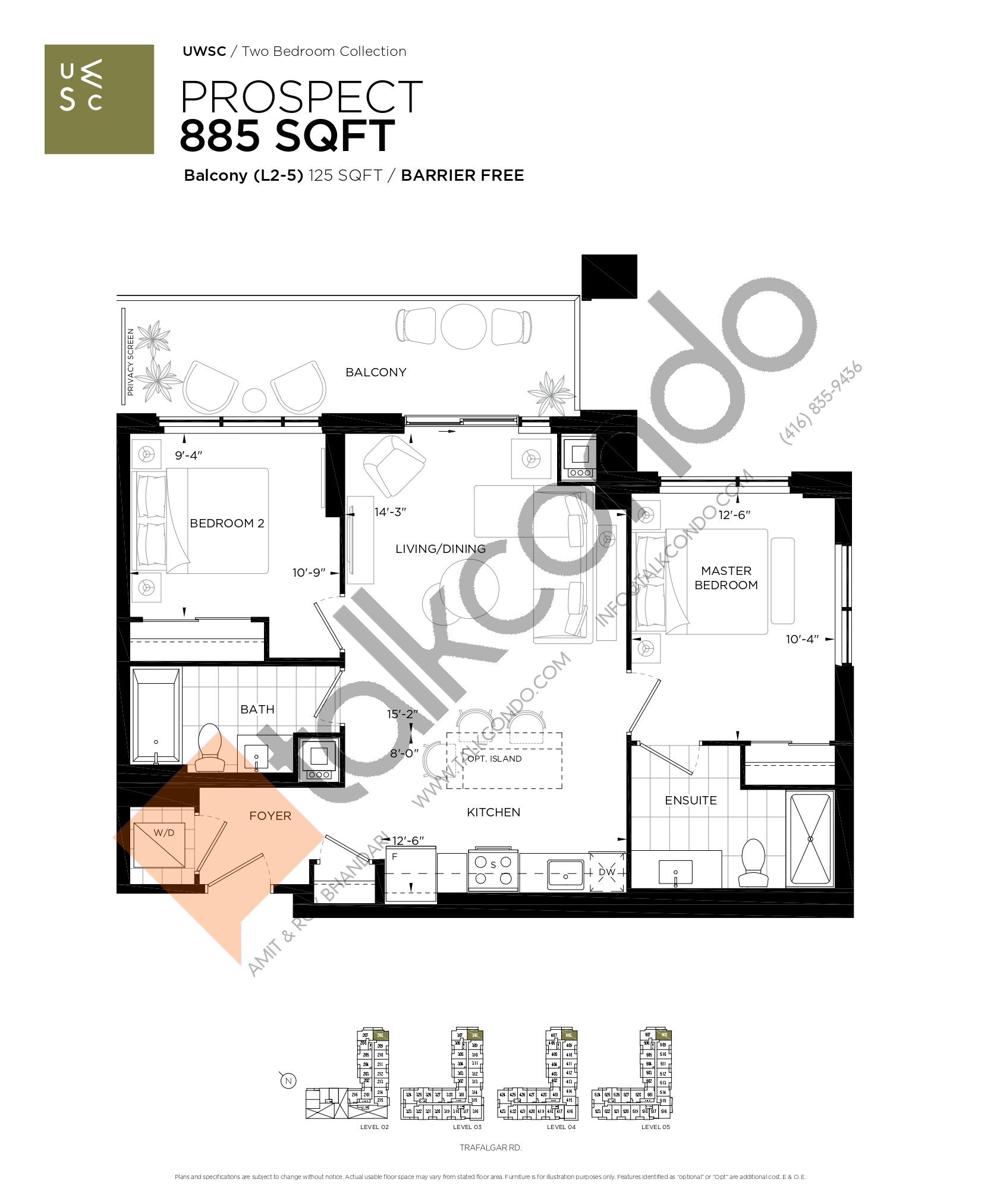 Prospect Floor Plan at Upper West Side Condos at Oakvillage - 885 sq.ft