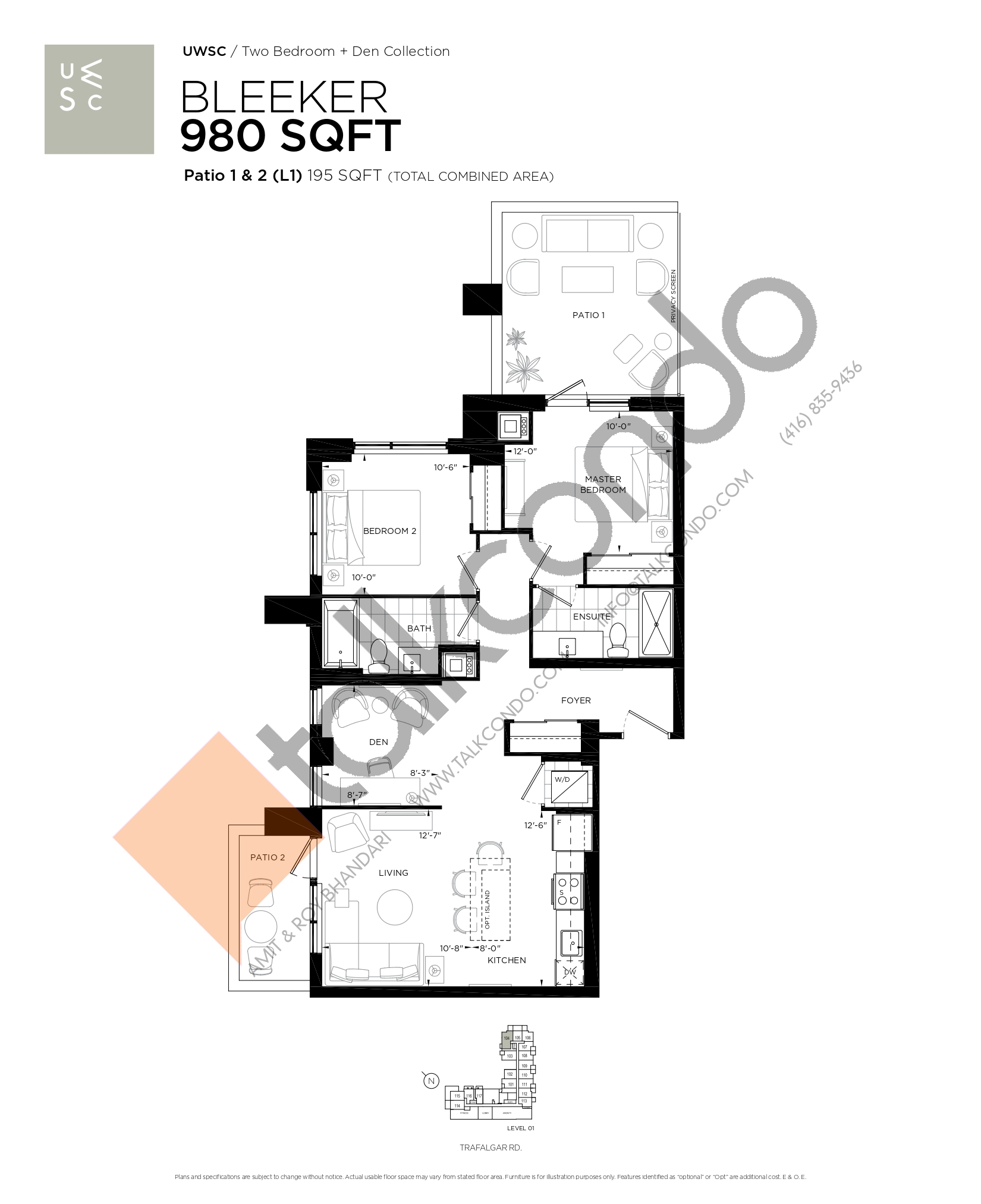 Bleeker Floor Plan at Upper West Side Condos at Oakvillage - 980 sq.ft
