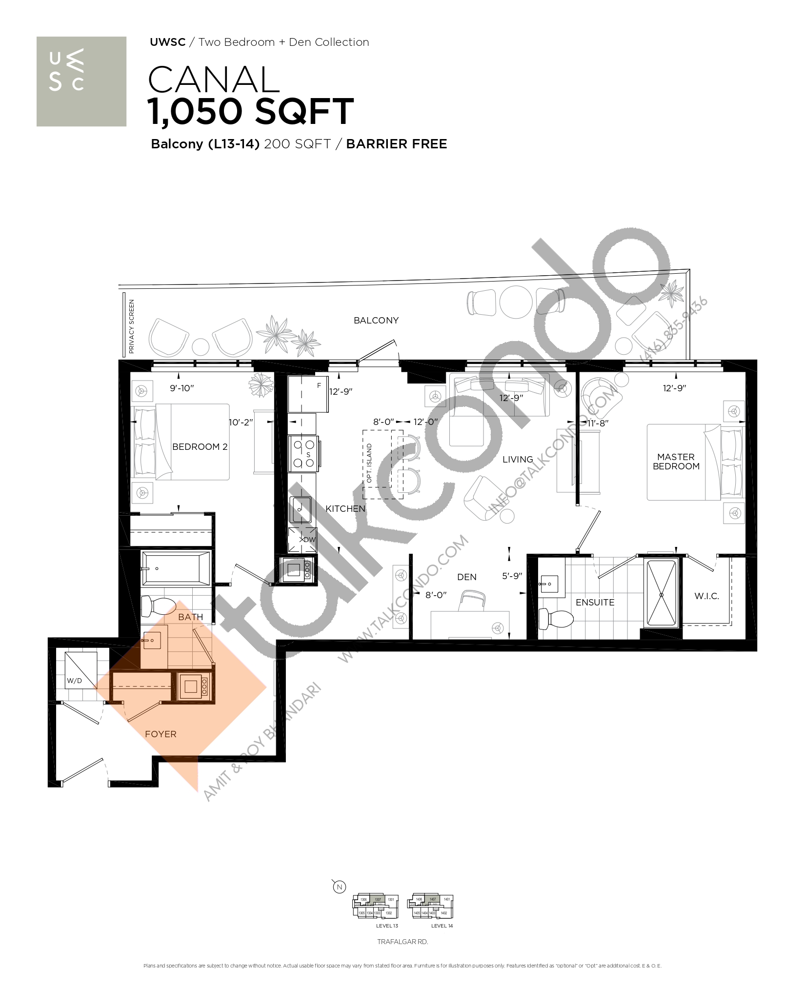 Canal Floor Plan at Upper West Side Condos at Oakvillage - 1050 sq.ft