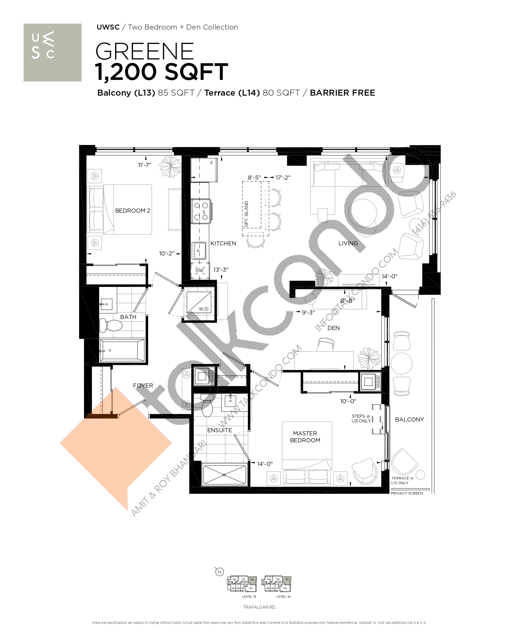Greene Floor Plan at Upper West Side Condos at Oakvillage - 1200 sq.ft