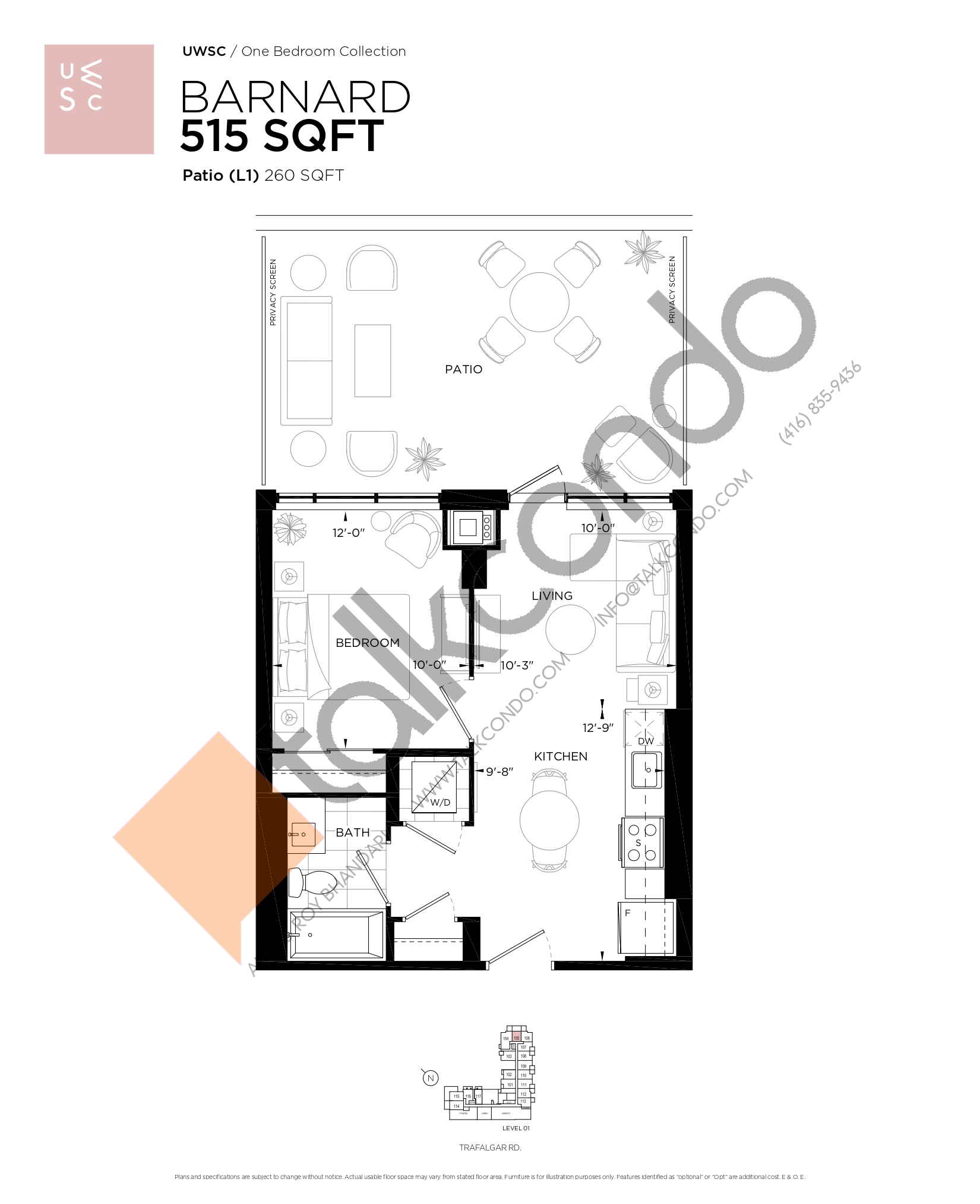 Barnard Floor Plan at Upper West Side Condos at Oakvillage - 515 sq.ft