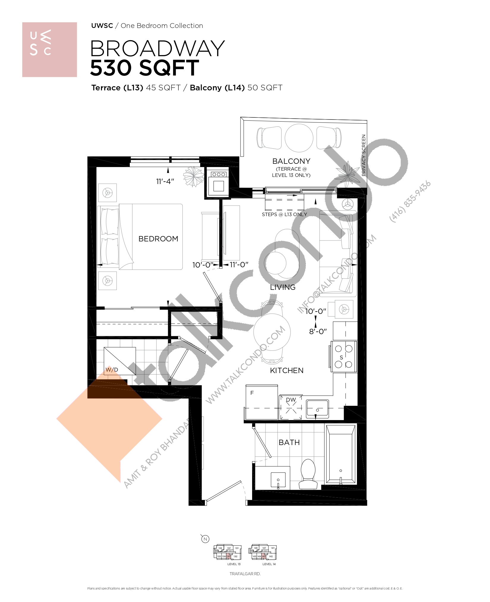 Broadway Floor Plan at Upper West Side Condos at Oakvillage - 530 sq.ft