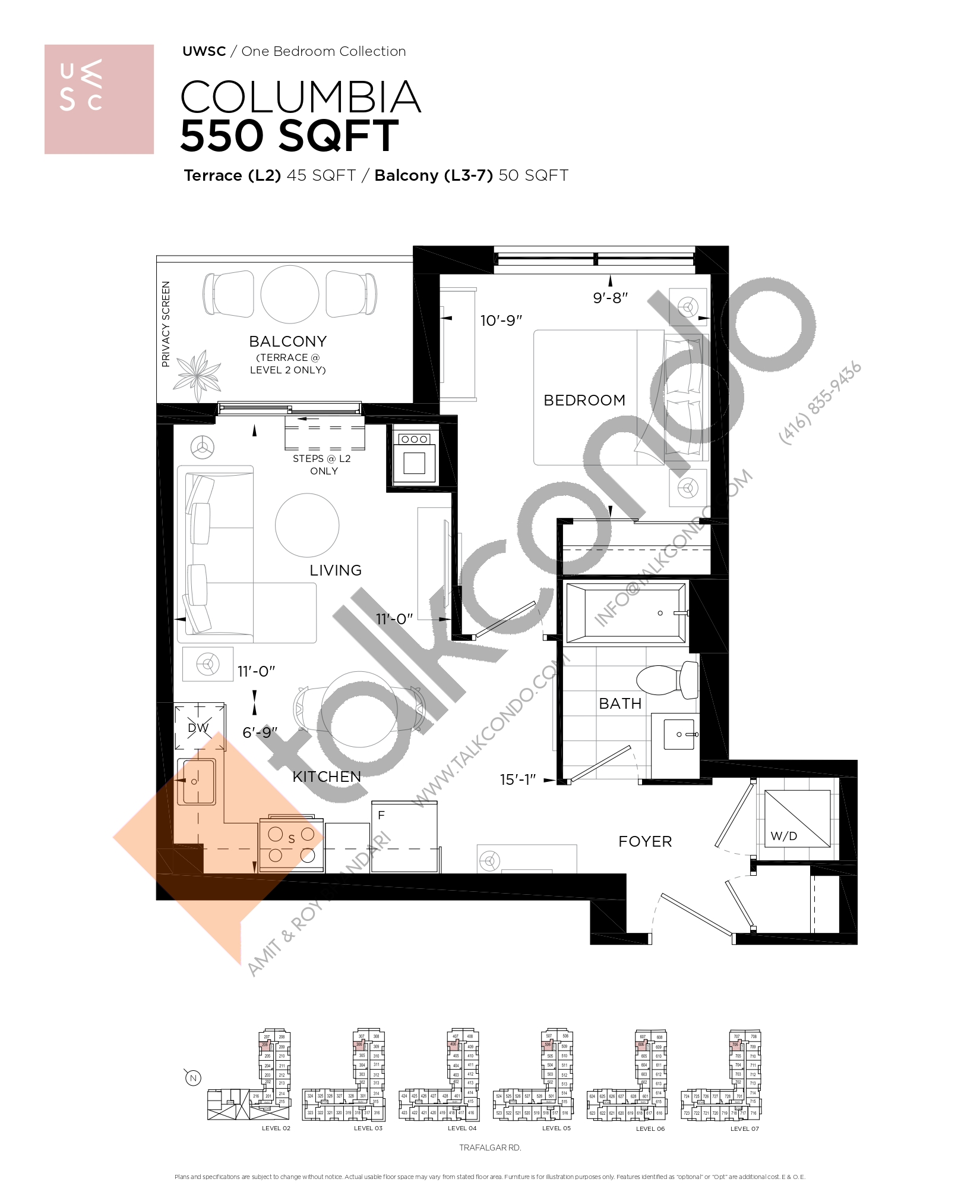 Columbia Floor Plan at Upper West Side Condos at Oakvillage - 550 sq.ft