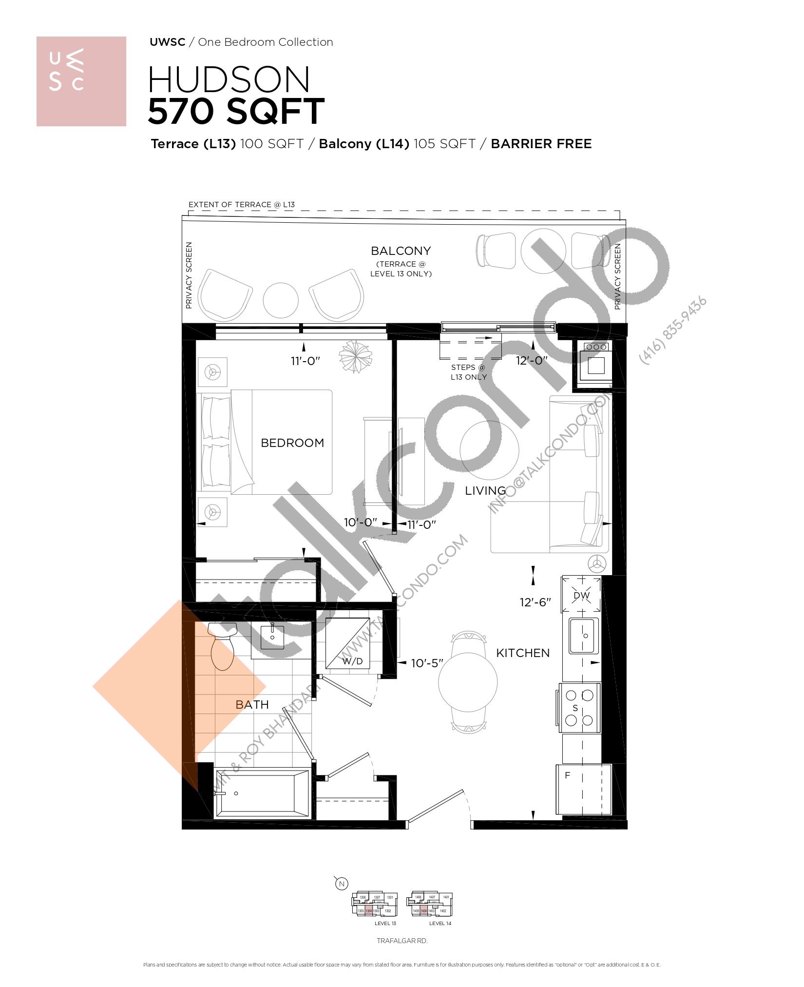 Hudson Floor Plan at Upper West Side Condos at Oakvillage - 570 sq.ft
