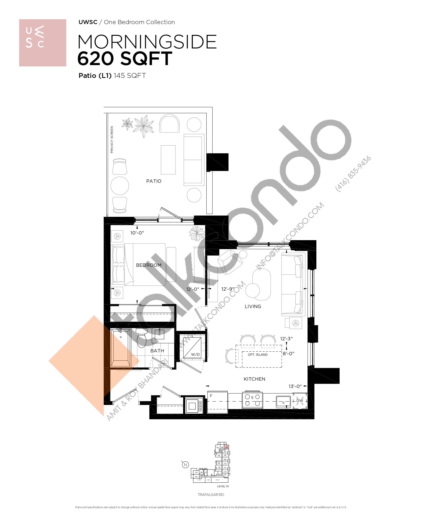 Morningside Floor Plan at Upper West Side Condos at Oakvillage - 620 sq.ft