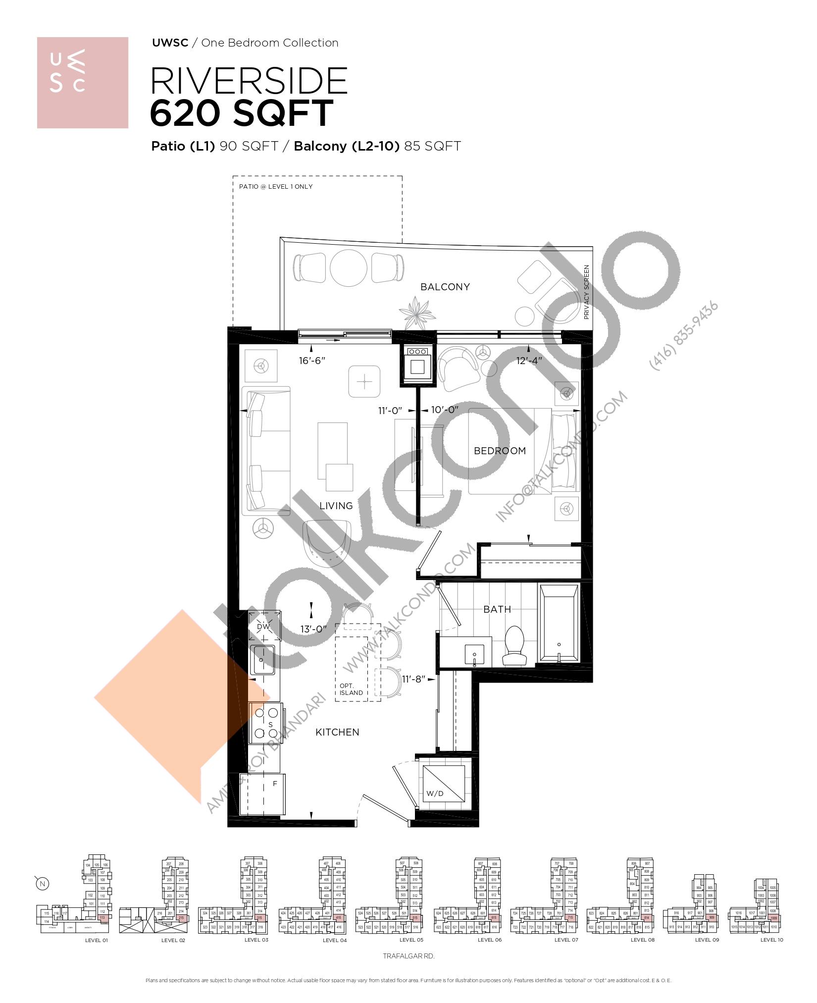 Riverside Floor Plan at Upper West Side Condos at Oakvillage - 620 sq.ft