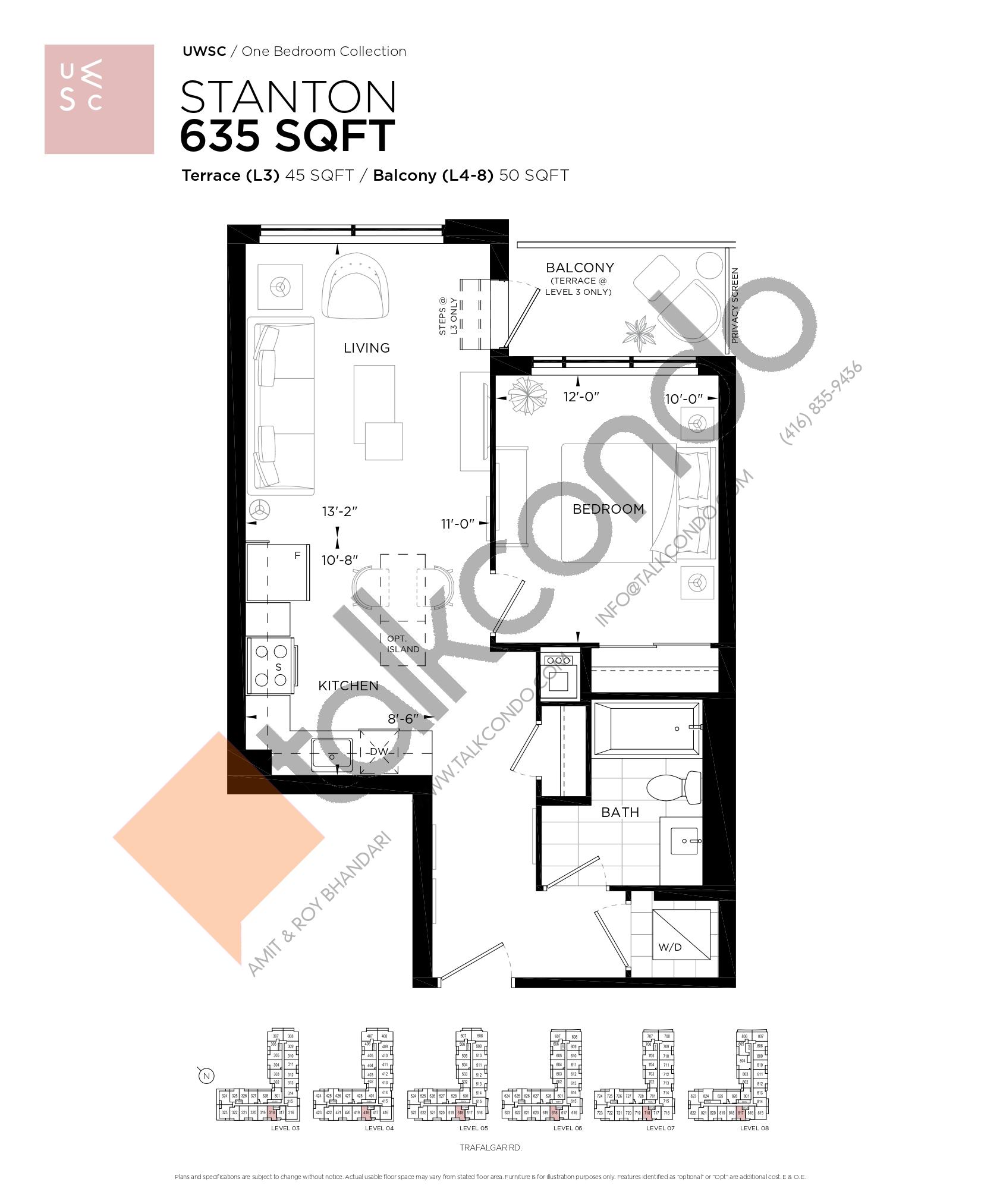Stanton Floor Plan at Upper West Side Condos at Oakvillage - 635 sq.ft