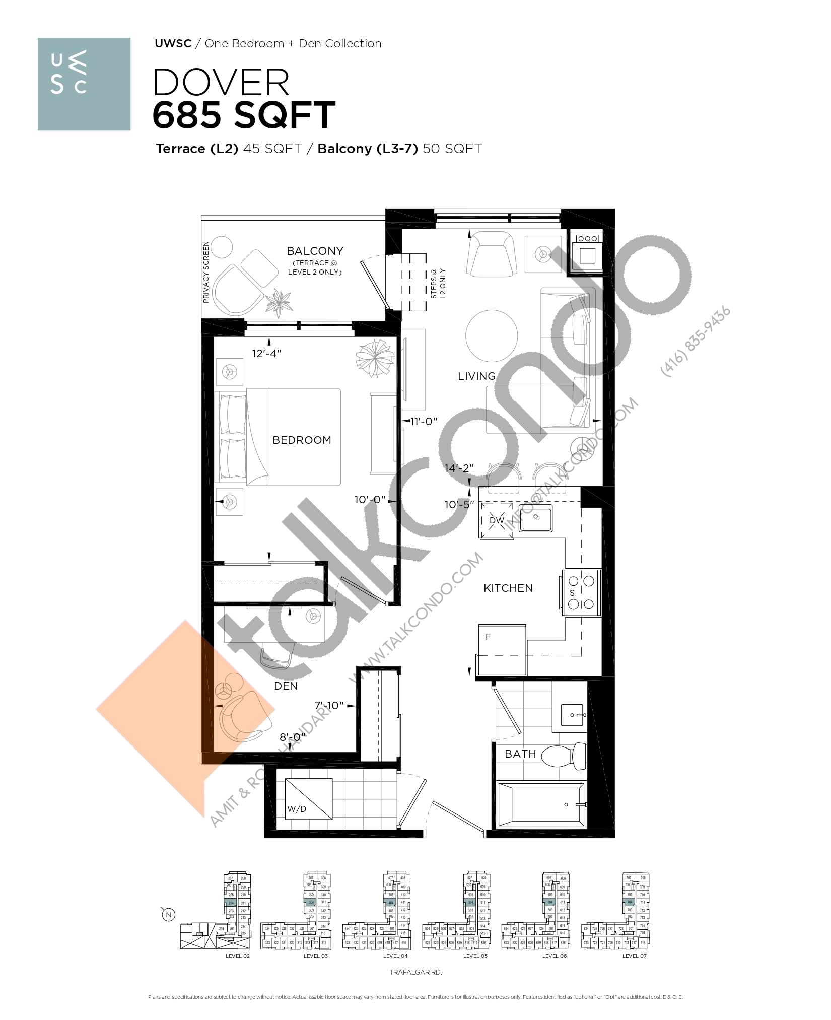 Dover Floor Plan at Upper West Side Condos at Oakvillage - 685 sq.ft