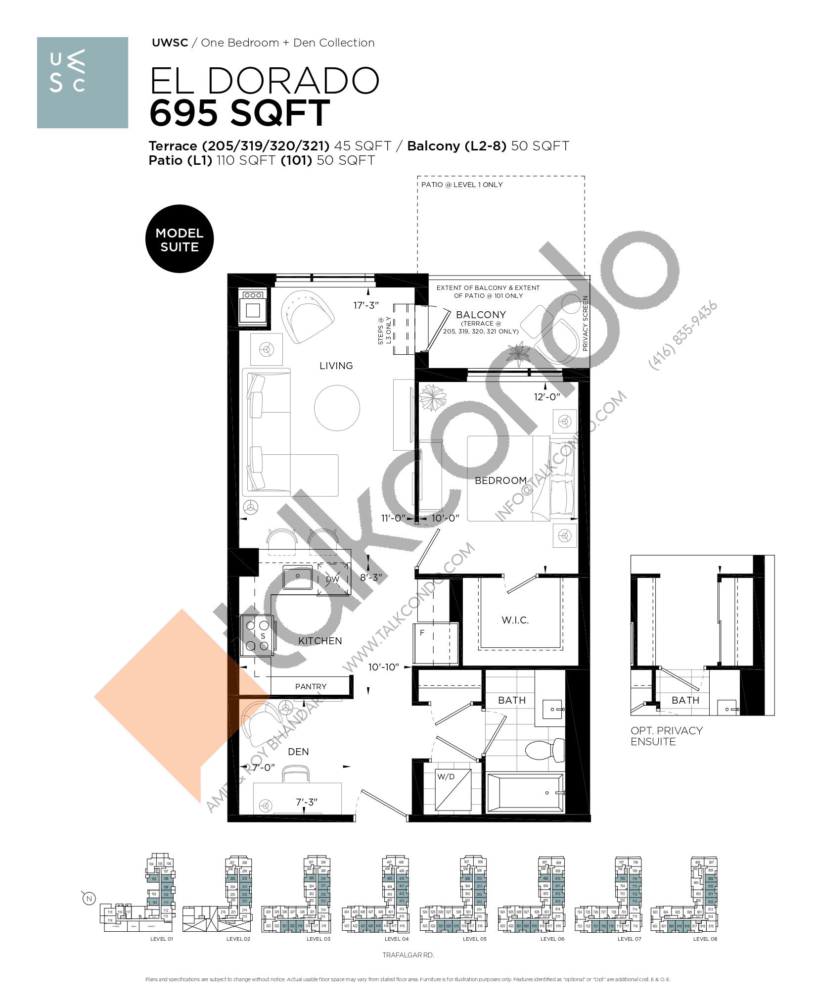 El Dorado Floor Plan at Upper West Side Condos at Oakvillage - 695 sq.ft