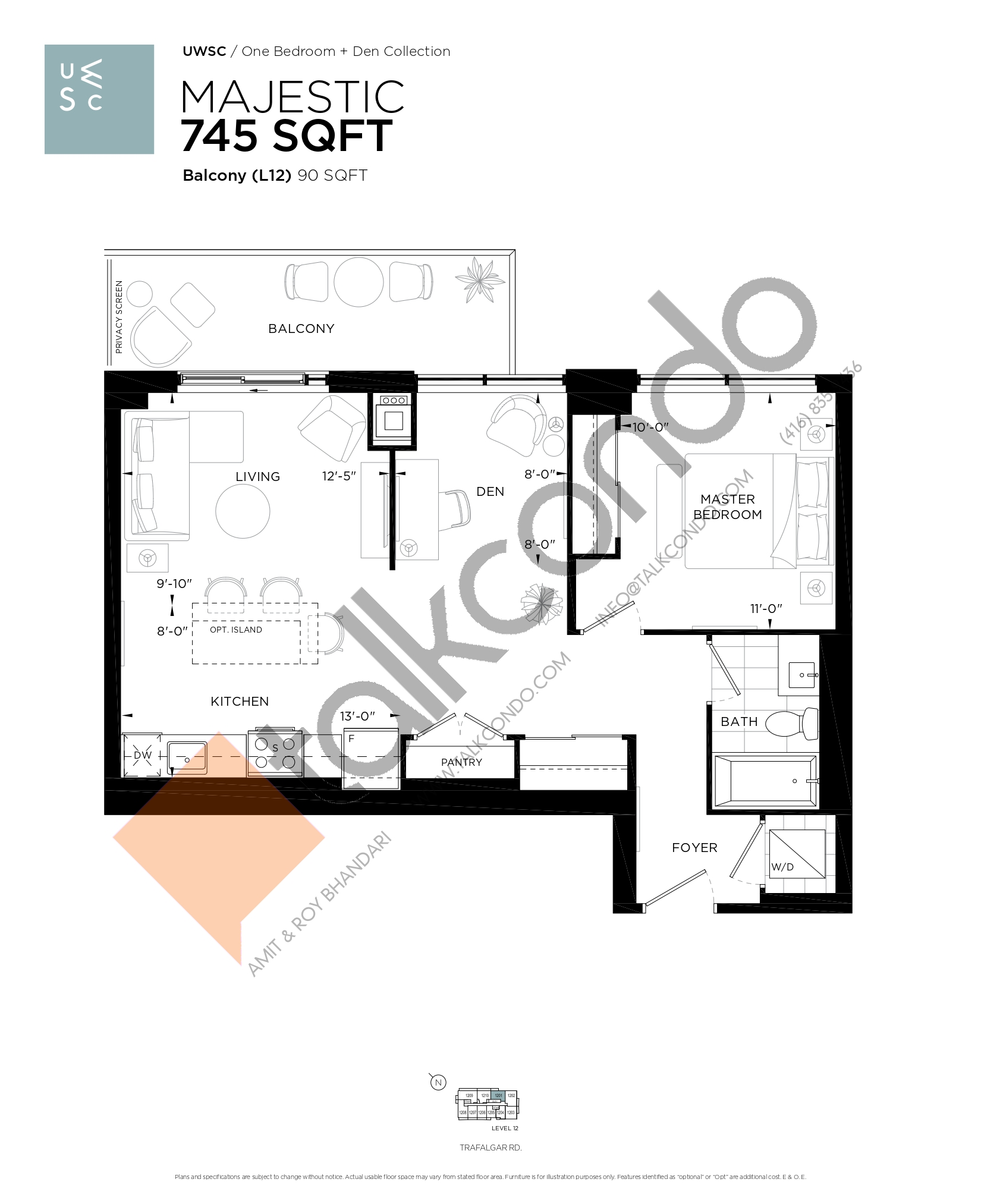 Majestic Floor Plan at Upper West Side Condos at Oakvillage - 745 sq.ft