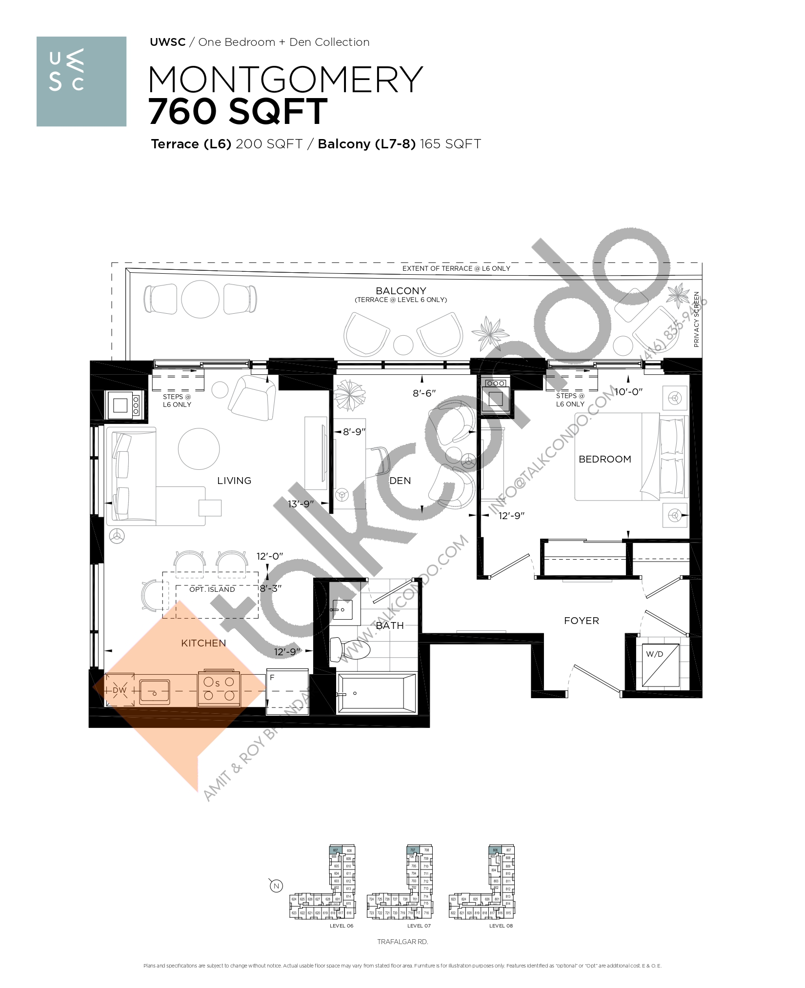 Montgomery Floor Plan at Upper West Side Condos at Oakvillage - 760 sq.ft
