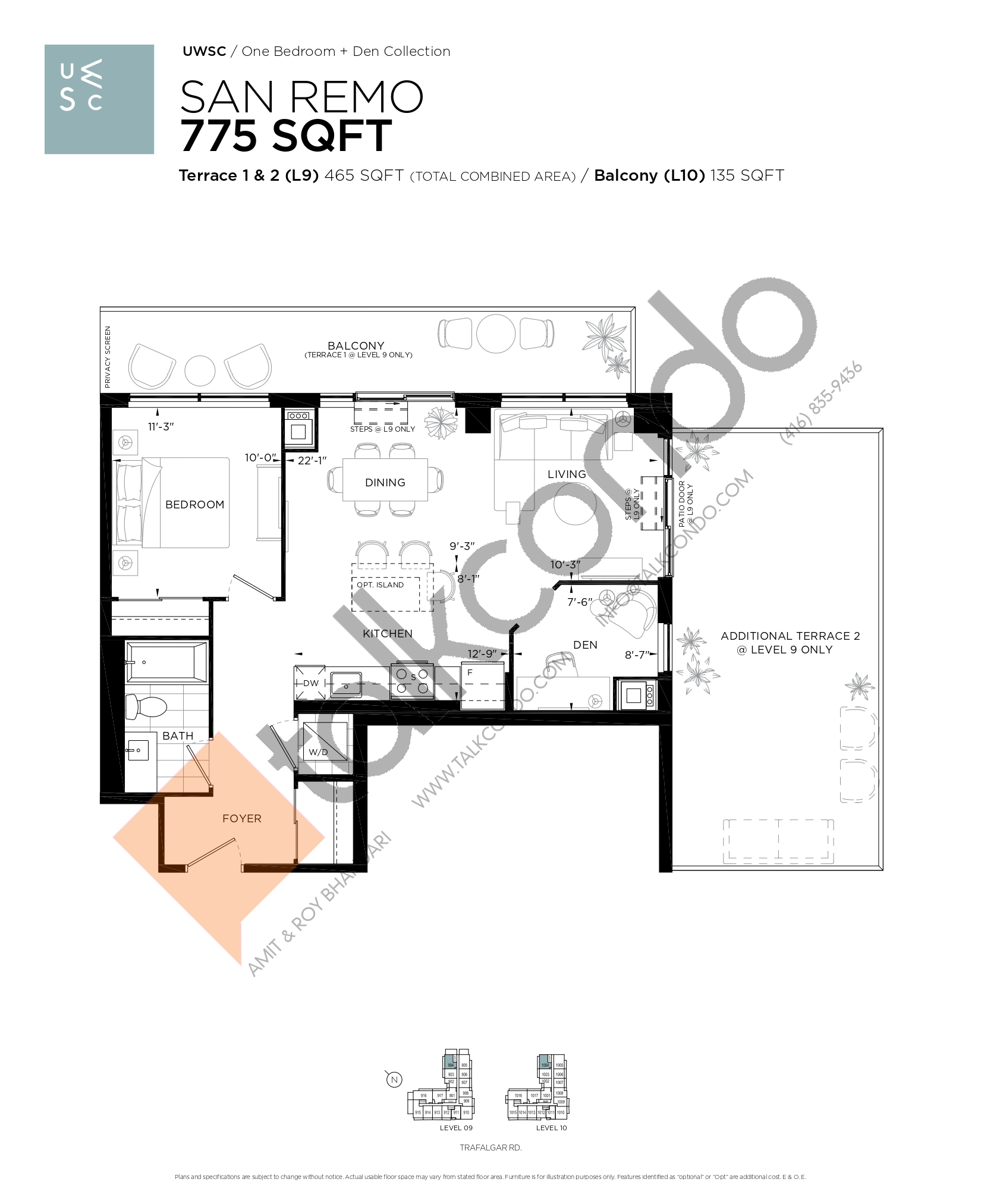 San Remo Floor Plan at Upper West Side Condos at Oakvillage - 775 sq.ft