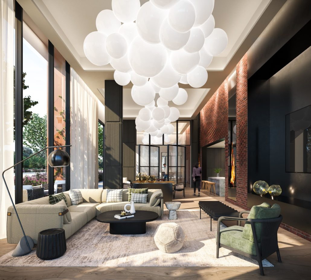 lobby at upper west side condos in oakville