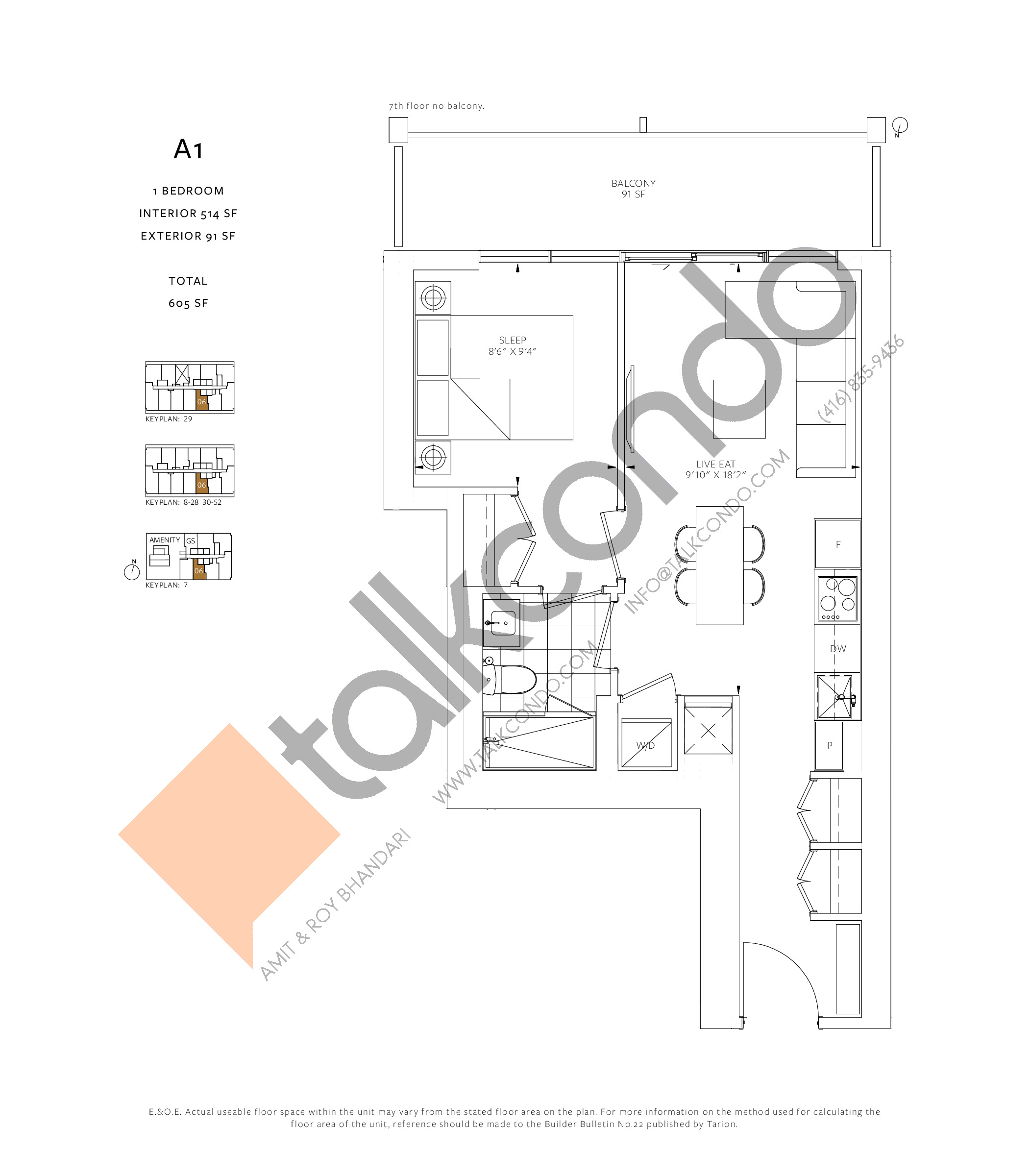 A1 Floor Plan at 88 Queen Condos - Phase 2 - 514 sq.ft