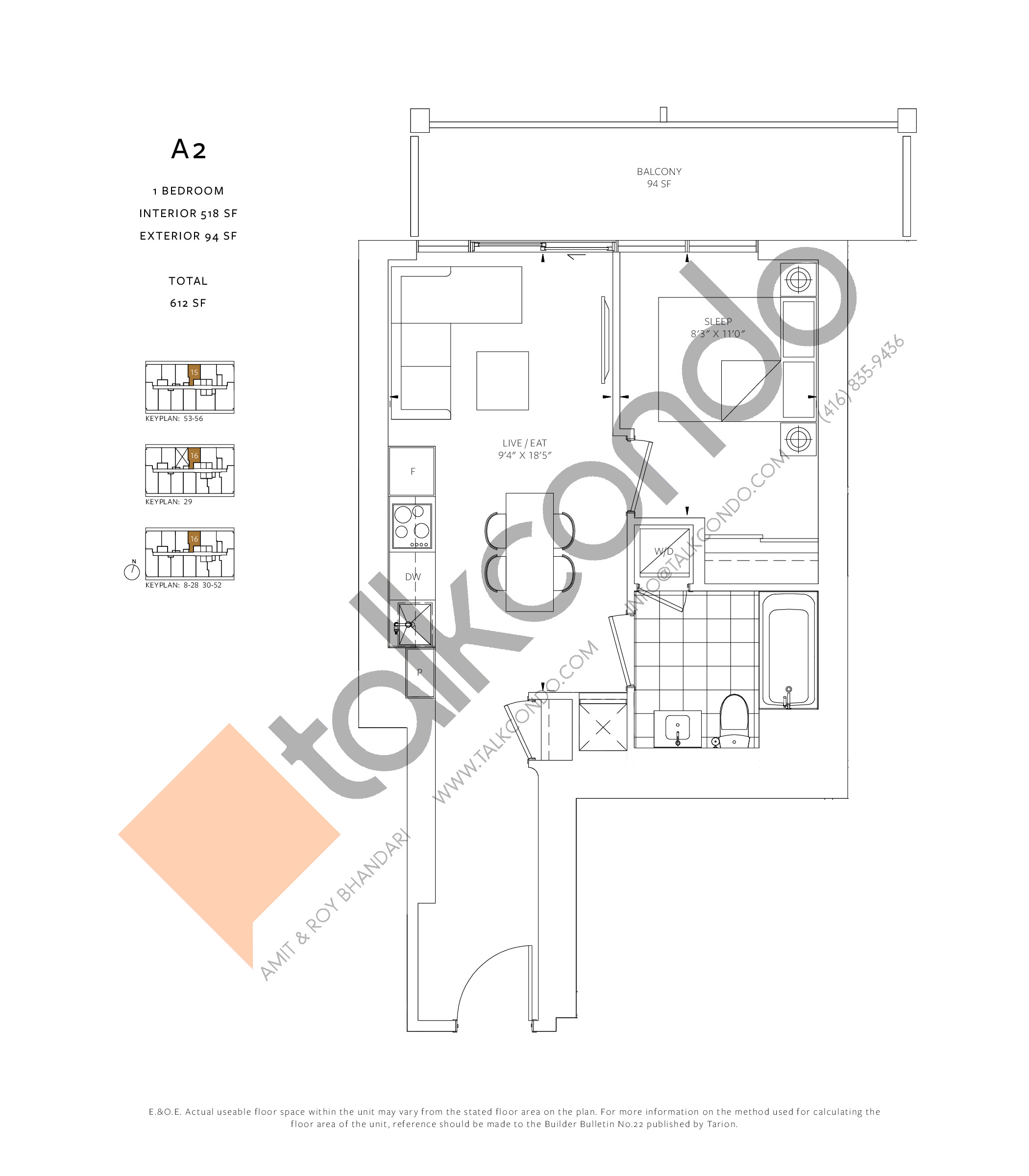 A2 Floor Plan at 88 Queen Condos - Phase 2 - 518 sq.ft