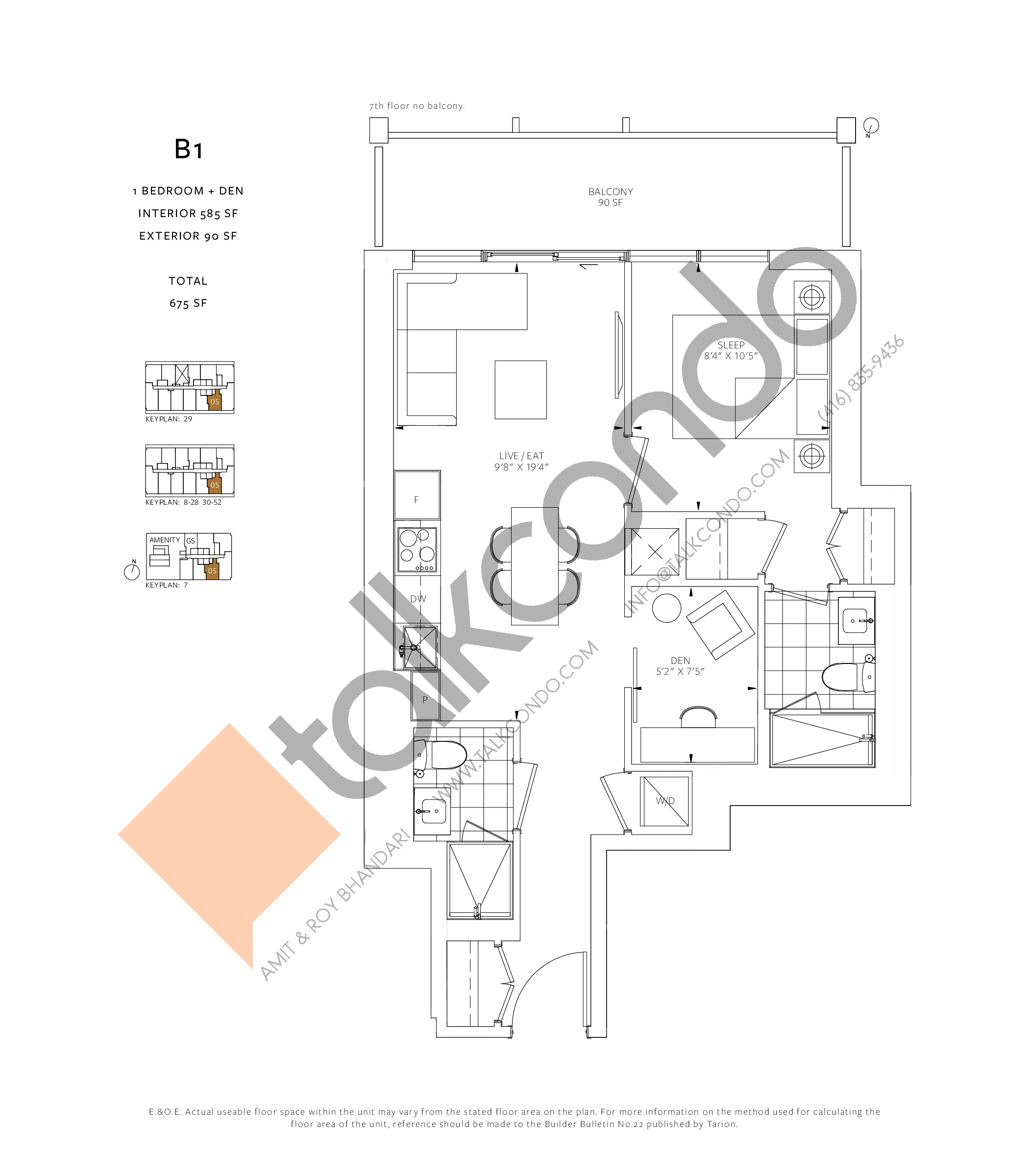B1 Floor Plan at 88 Queen Condos - Phase 2 - 585 sq.ft