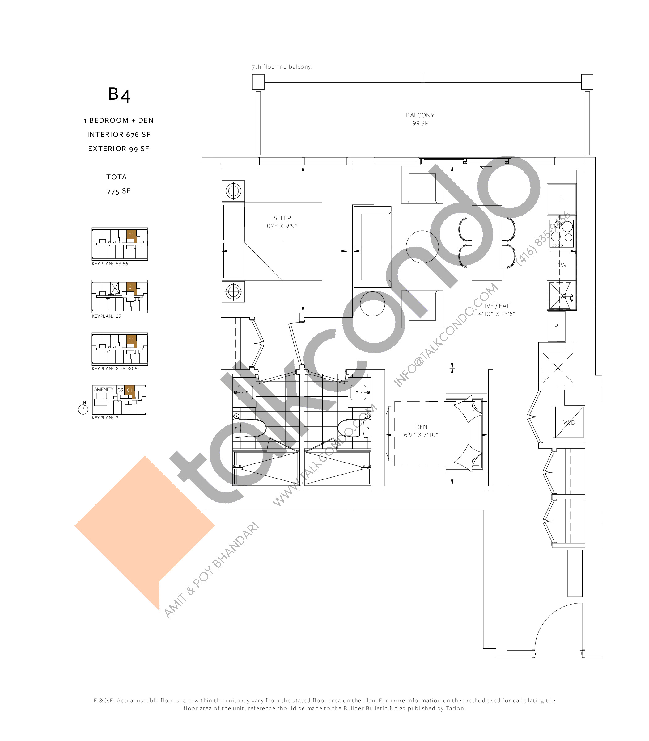 B4 Floor Plan at 88 Queen Condos - Phase 2 - 676 sq.ft