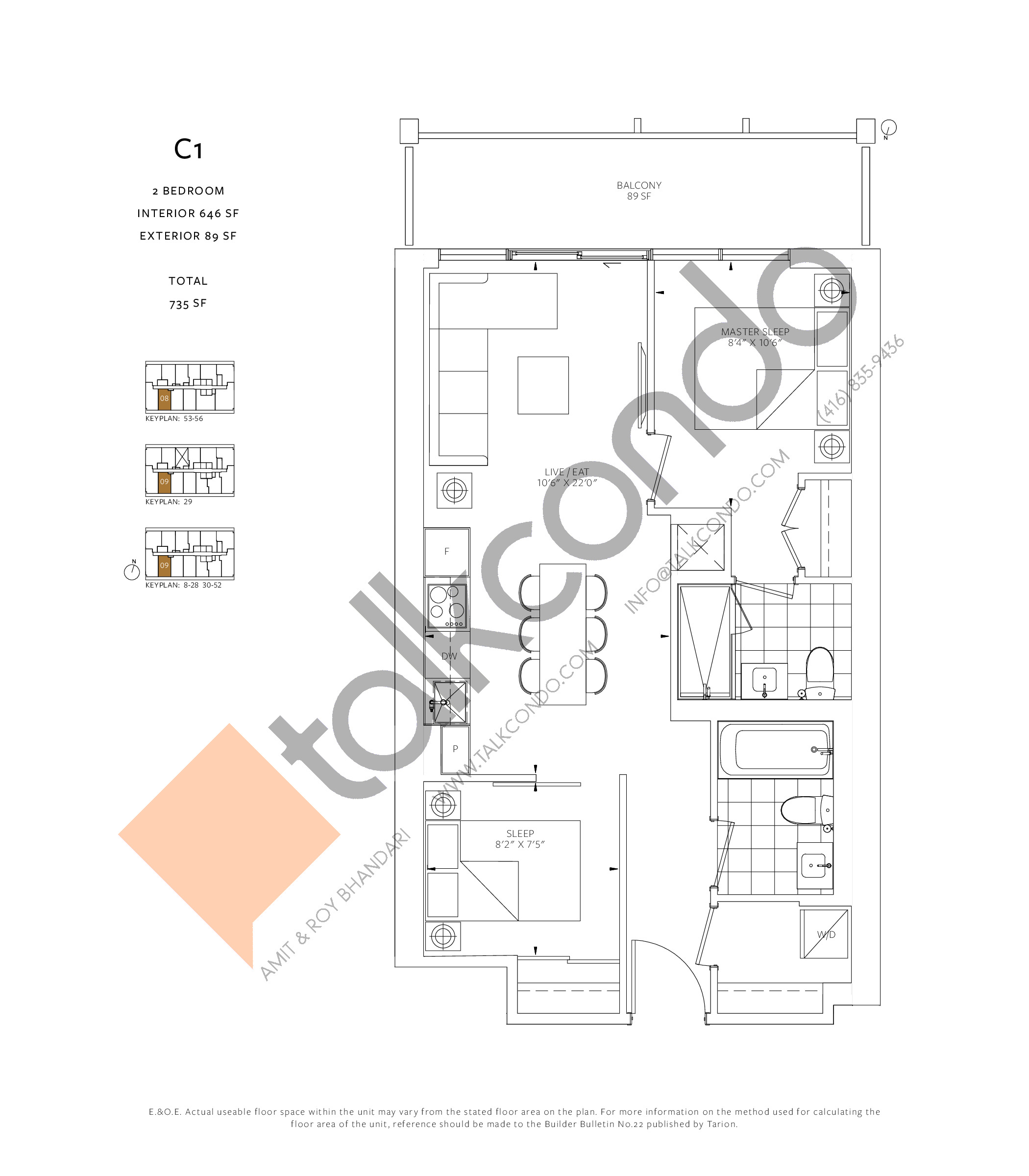 C1 Floor Plan at 88 Queen Condos - Phase 2 - 646 sq.ft