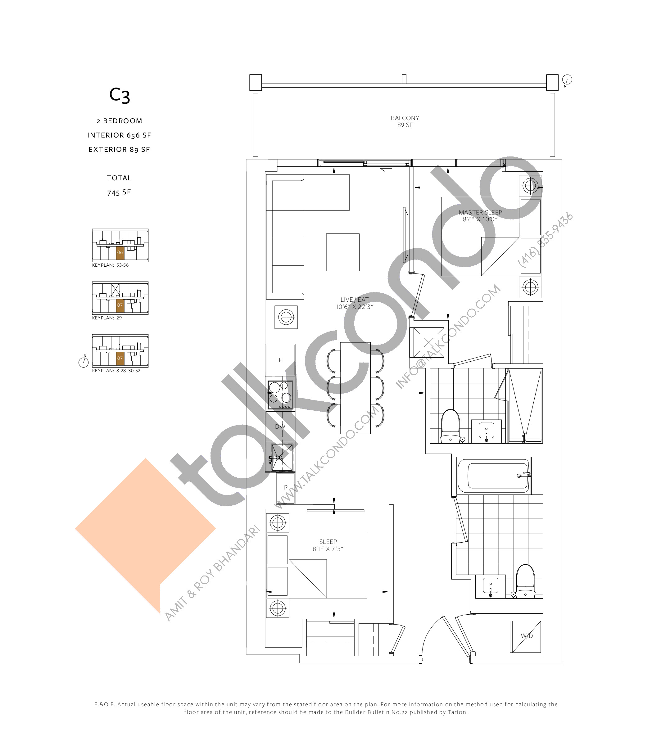 C3 Floor Plan at 88 Queen Condos - Phase 2 - 656 sq.ft