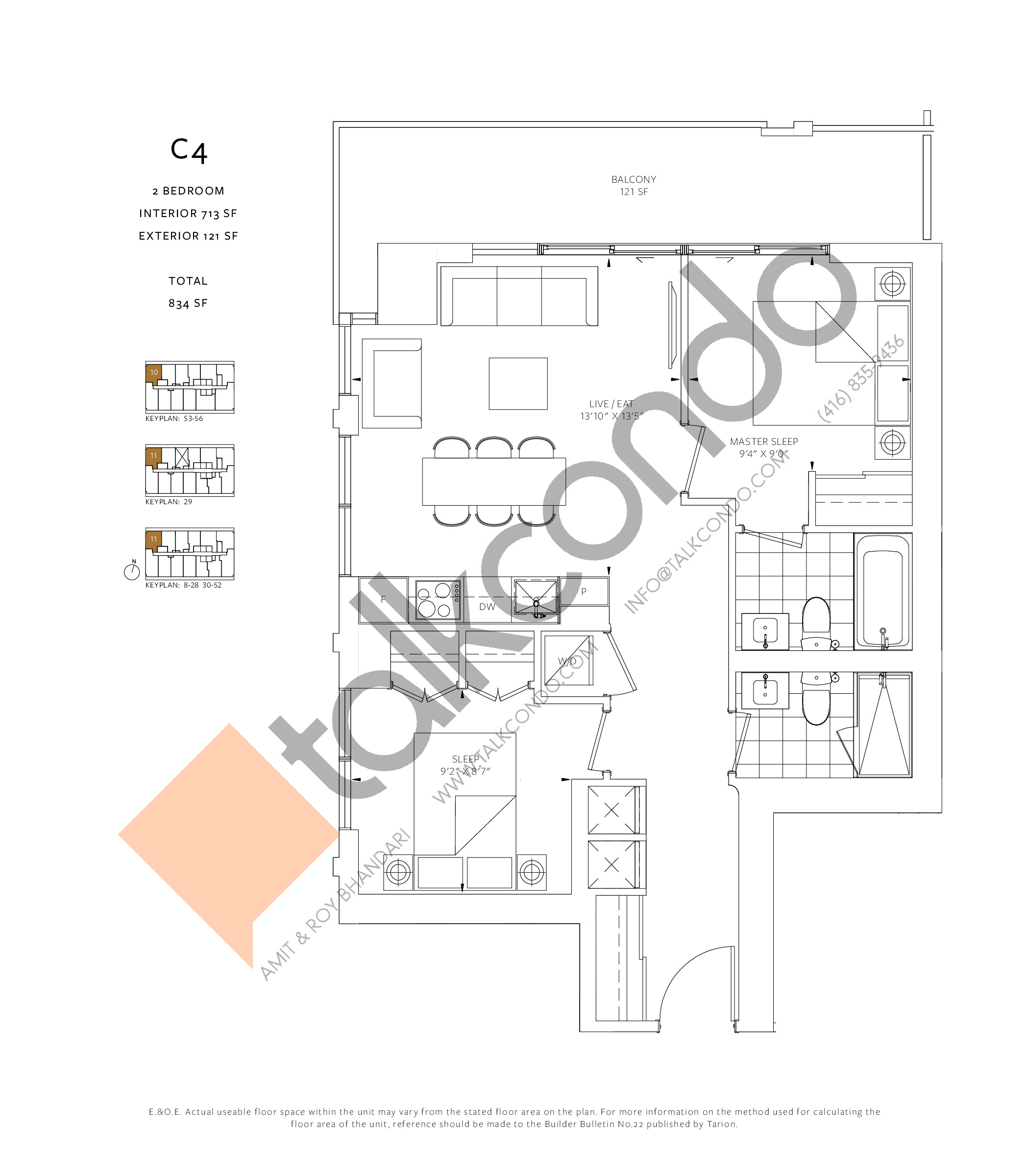 C4 Floor Plan at 88 Queen Condos - Phase 2 - 713 sq.ft