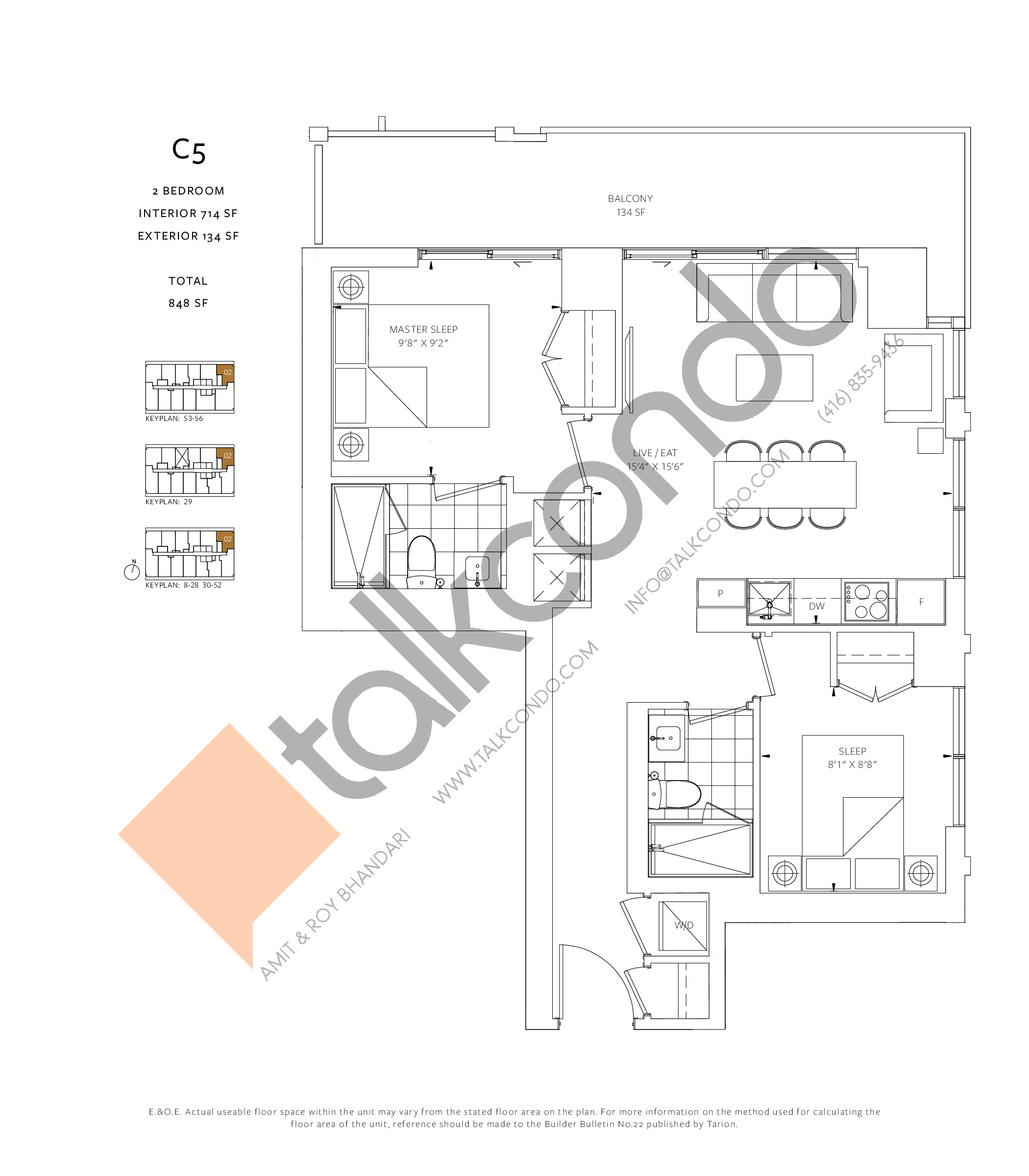 C5 Floor Plan at 88 Queen Condos - Phase 2 - 714 sq.ft