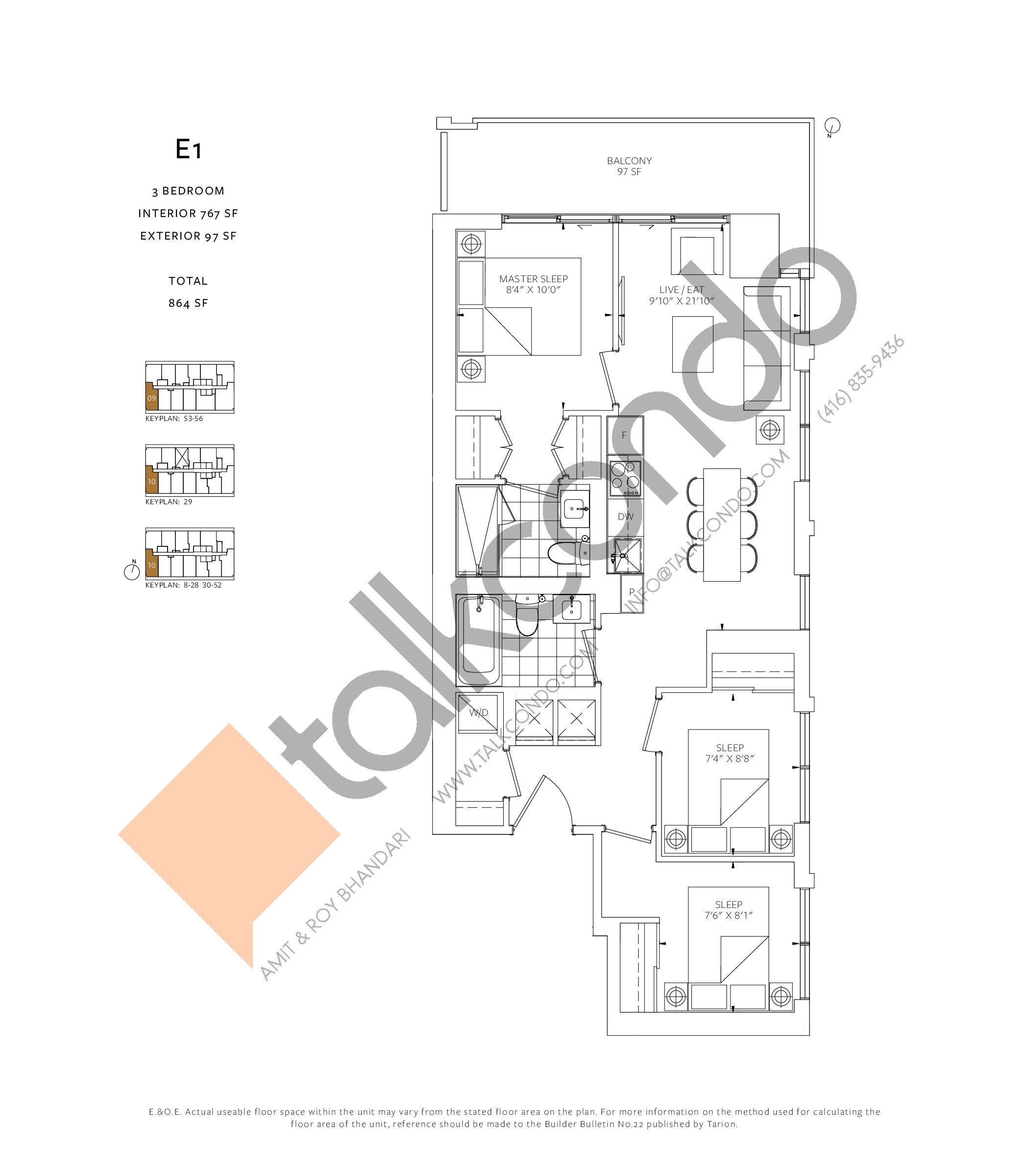 E1 Floor Plan at 88 Queen Condos - Phase 2 - 767 sq.ft